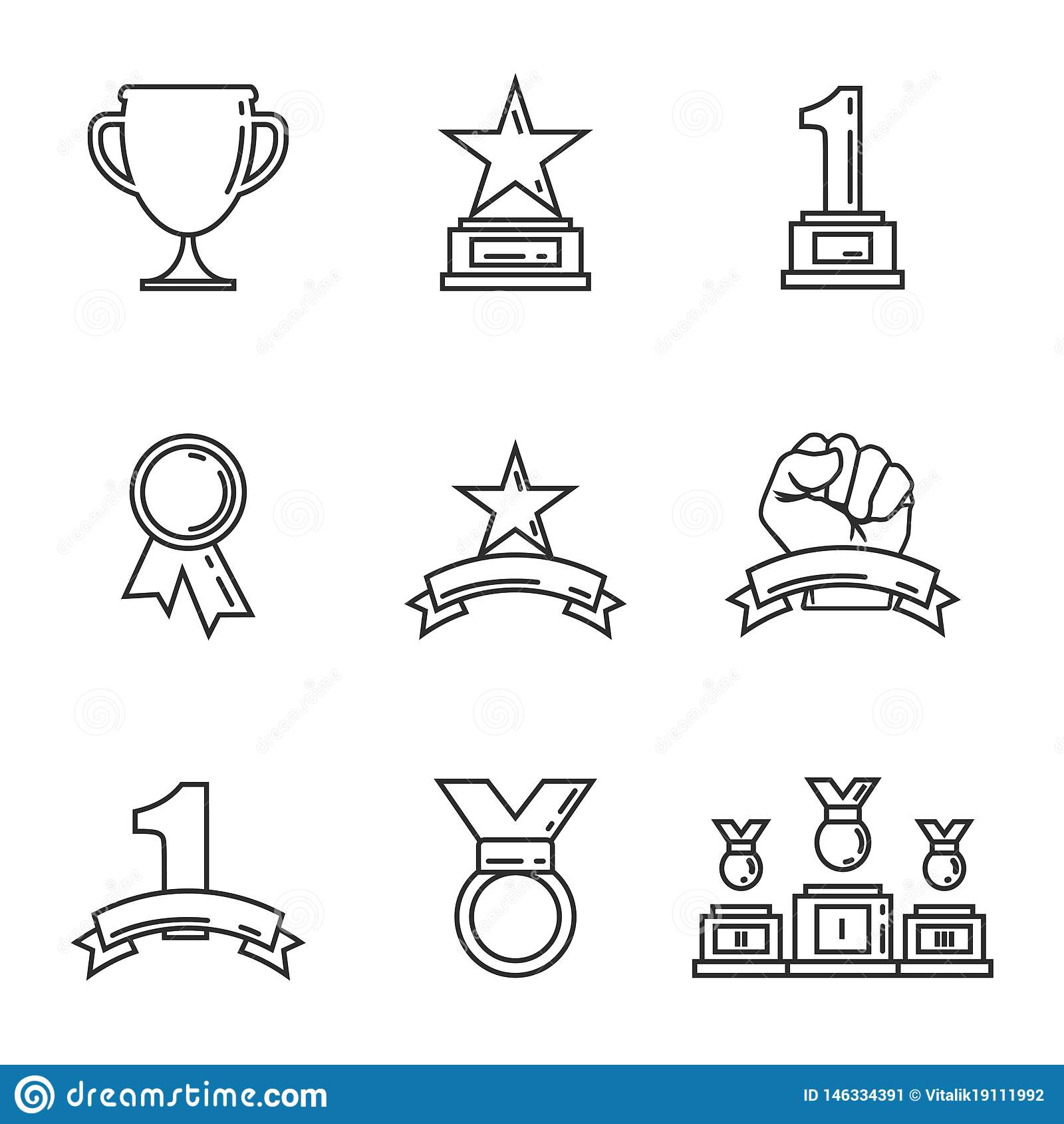 Goldene Cups der Preisikone für Sieger Sporttroph?e lineare Art Vektor