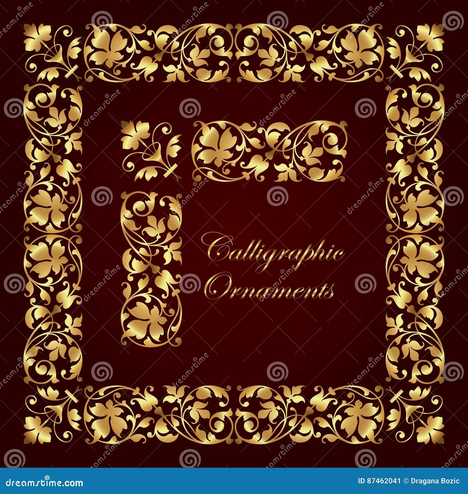 Goldene Dekorative Kalligraphische Verzierungen, Ecken, Grenzen Und ...