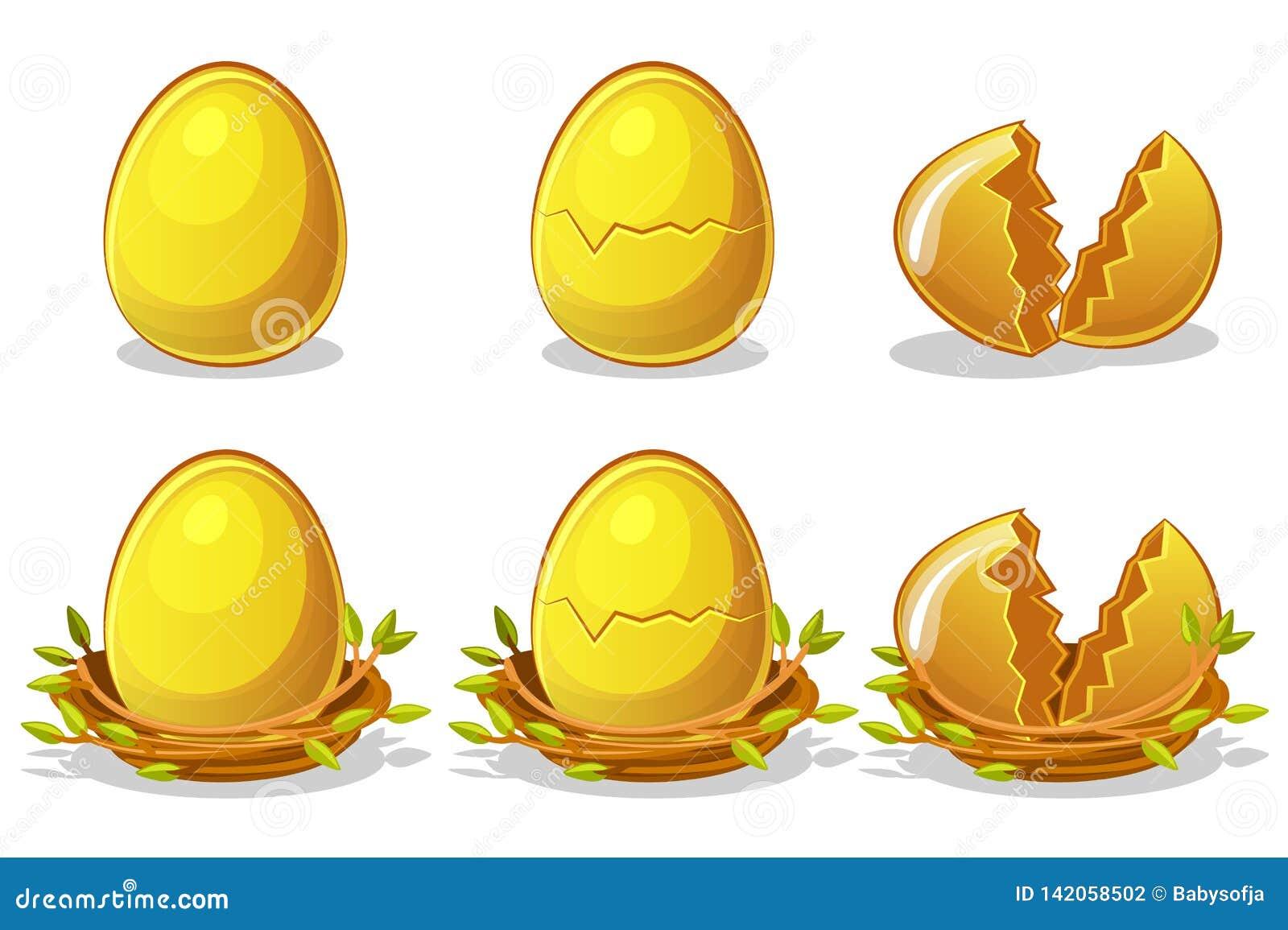 Goldene Eier im Vogelnest von Zweigen Vektor-Ostern-Symbol Normal, beschädigt und gebrochen