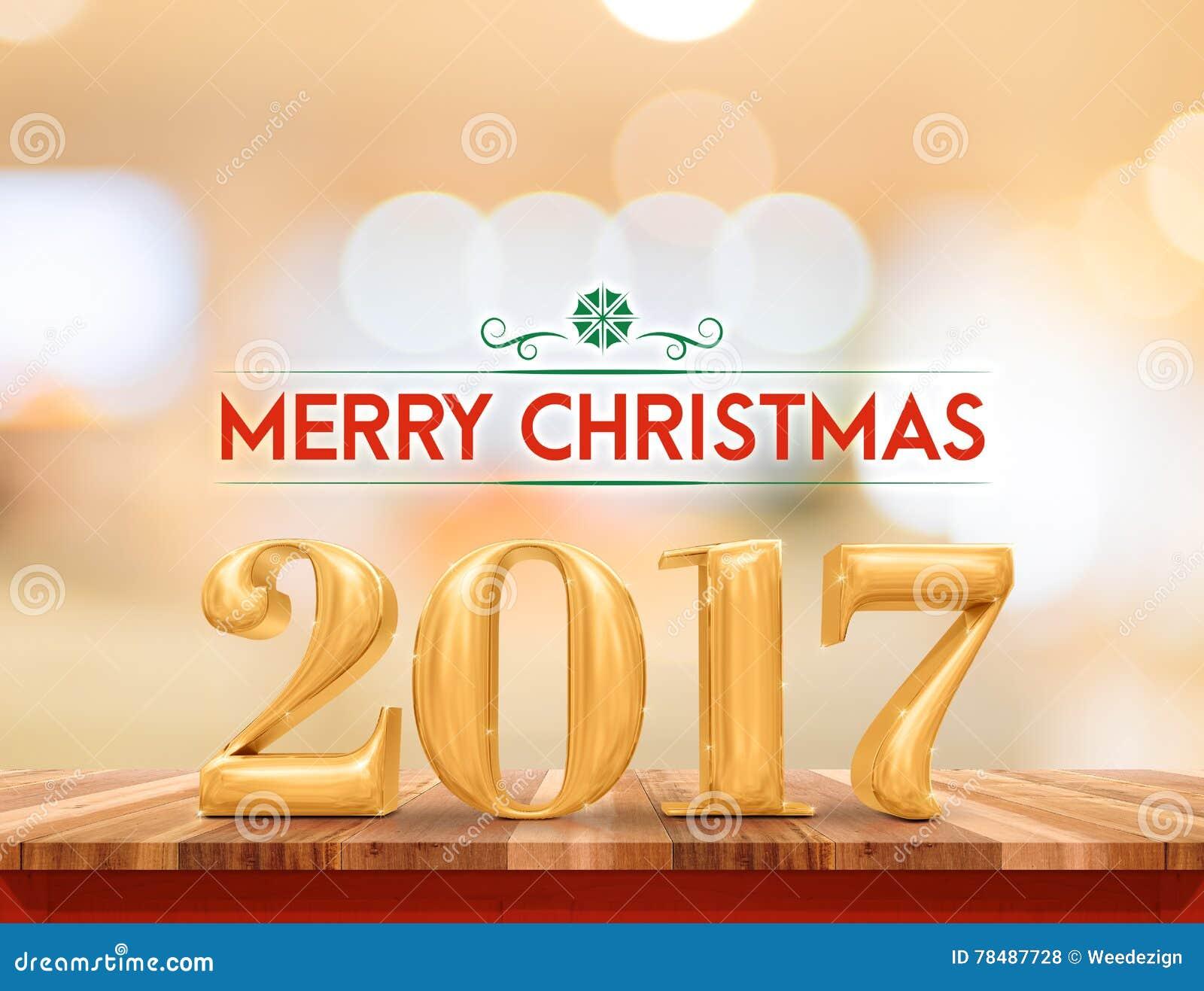 Goldene Frohe Weihnachten Der Farbe 2017 U. X28; 3d Rendering& X29 ...
