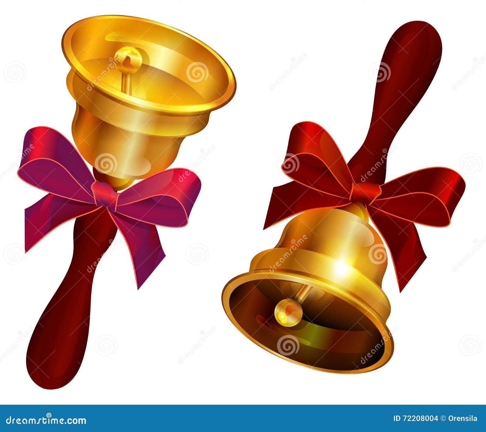 Goldene Glocke mit rotem Bogen Letzter Anruf des Feiertags in der Schule