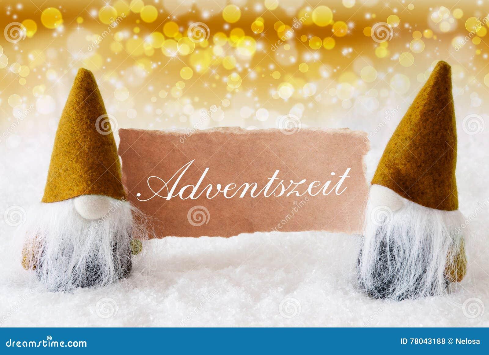 goldene gnomen mit karte adventszeit bedeutet advent. Black Bedroom Furniture Sets. Home Design Ideas