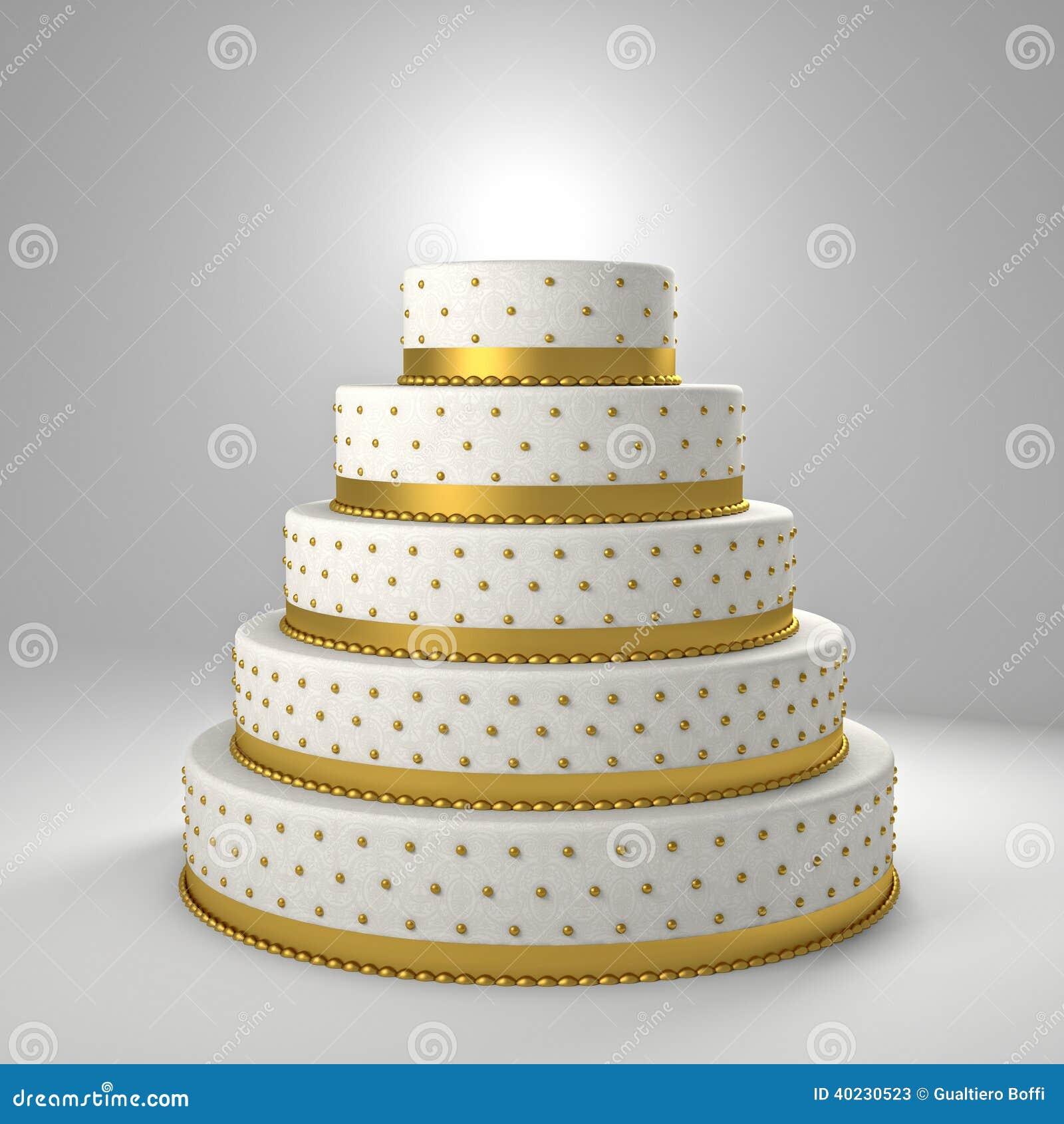 Goldene Hochzeitstorten   Goldene Hochzeitstorte Stock Abbildung Illustration Von Klassisch