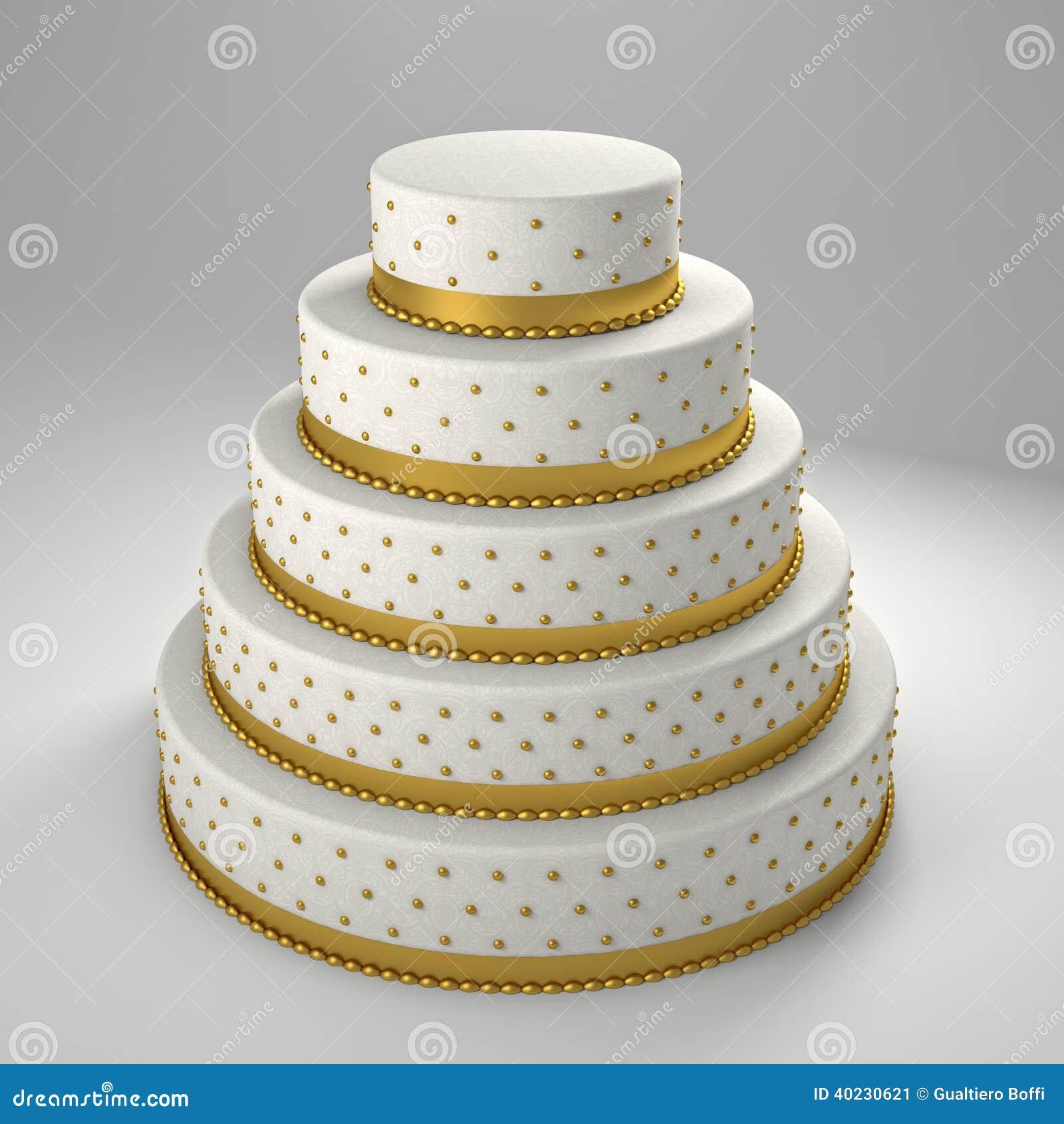 Goldene Hochzeitstorte Stock Abbildung Illustration Von Klassisch