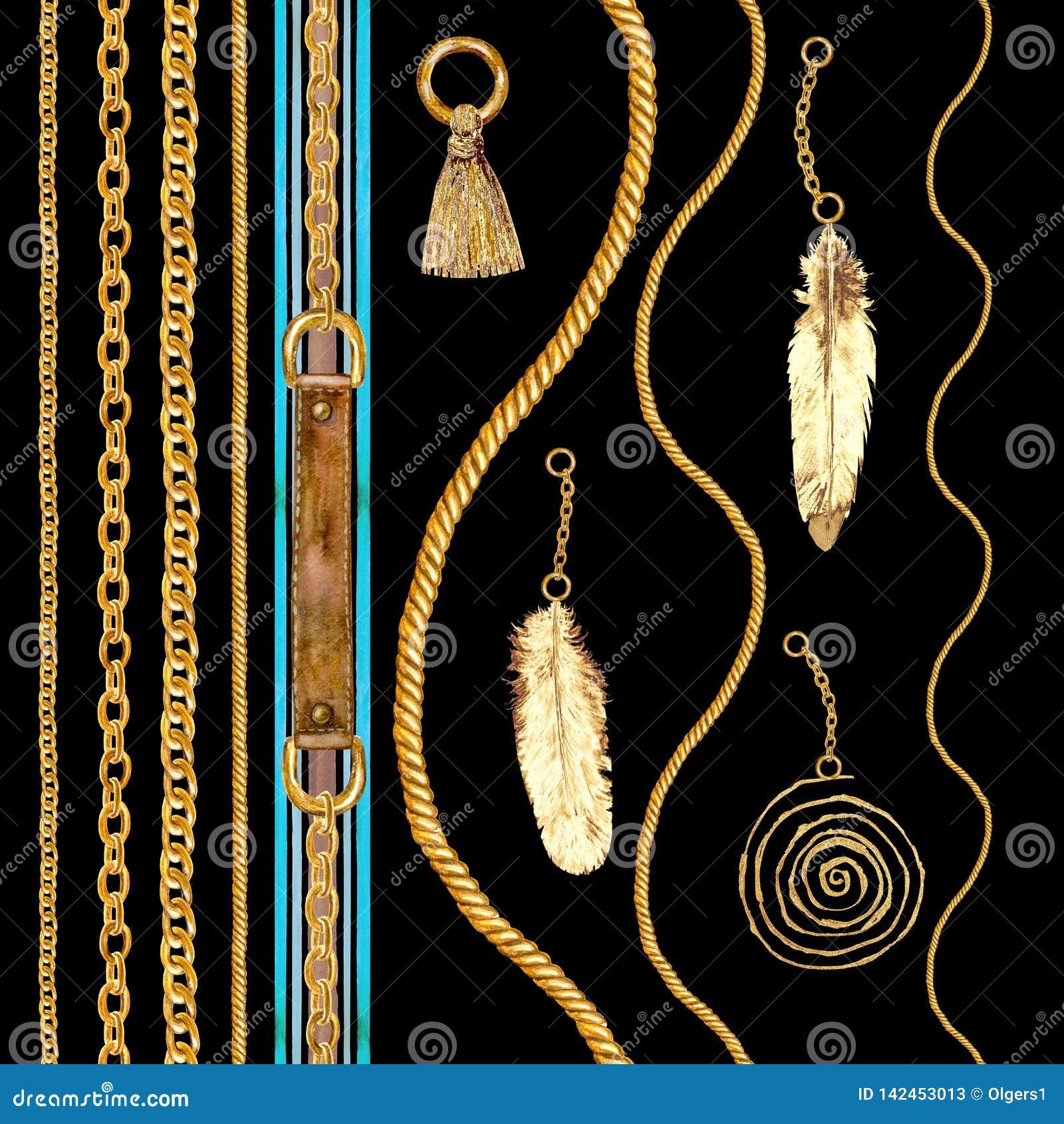 Goldene Kettennahtlose Musterillustration des zaubers Aquarellbeschaffenheit mit goldenen Ketten