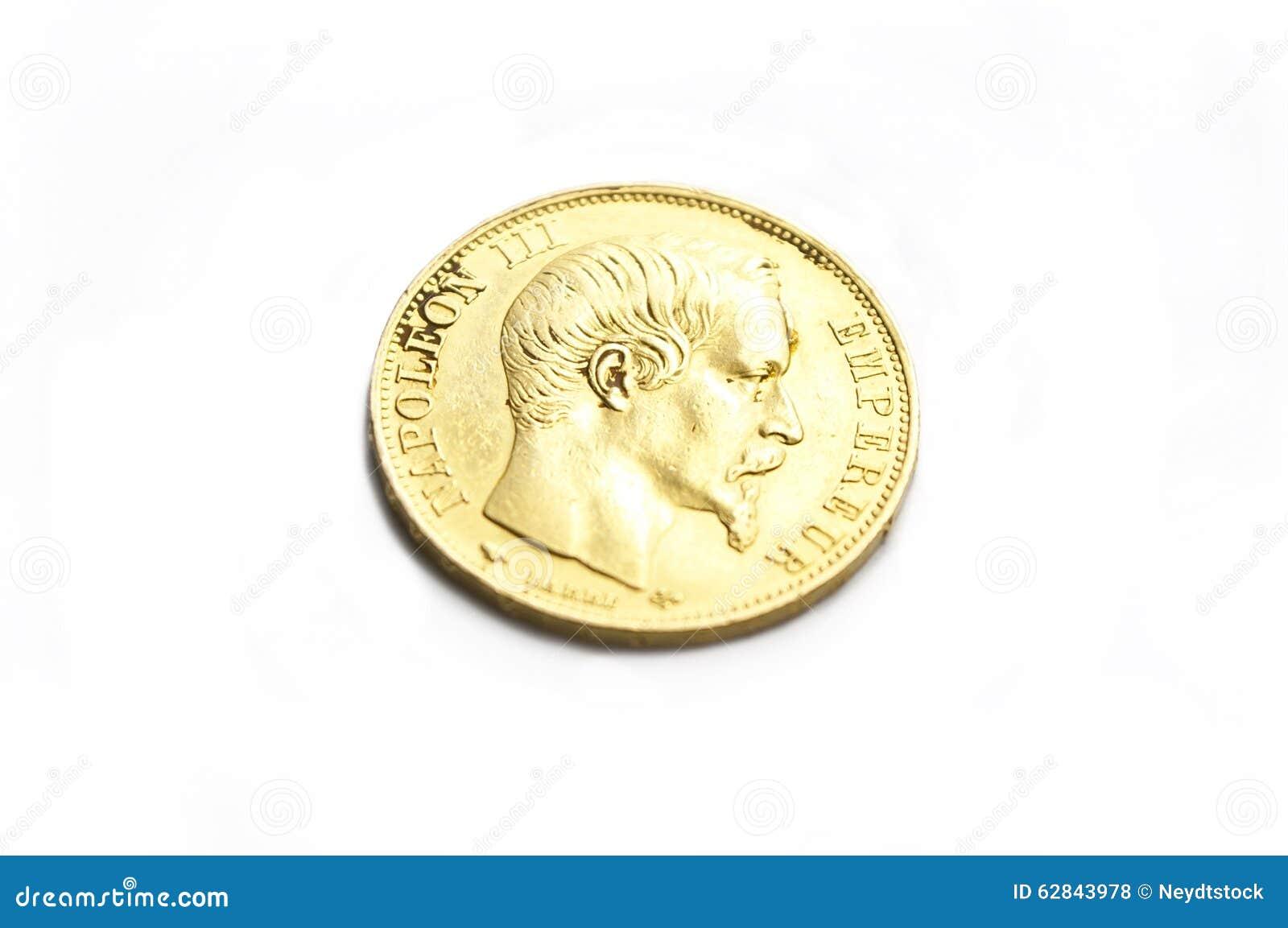Goldene Münze Napoleon Iii Stockfoto Bild Von Münzen 62843978