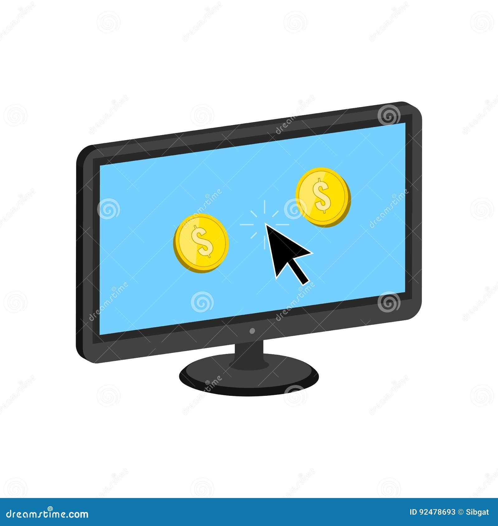 Goldene Münzen Springen Von Der Anzeige Machen Geld On Line Konzept