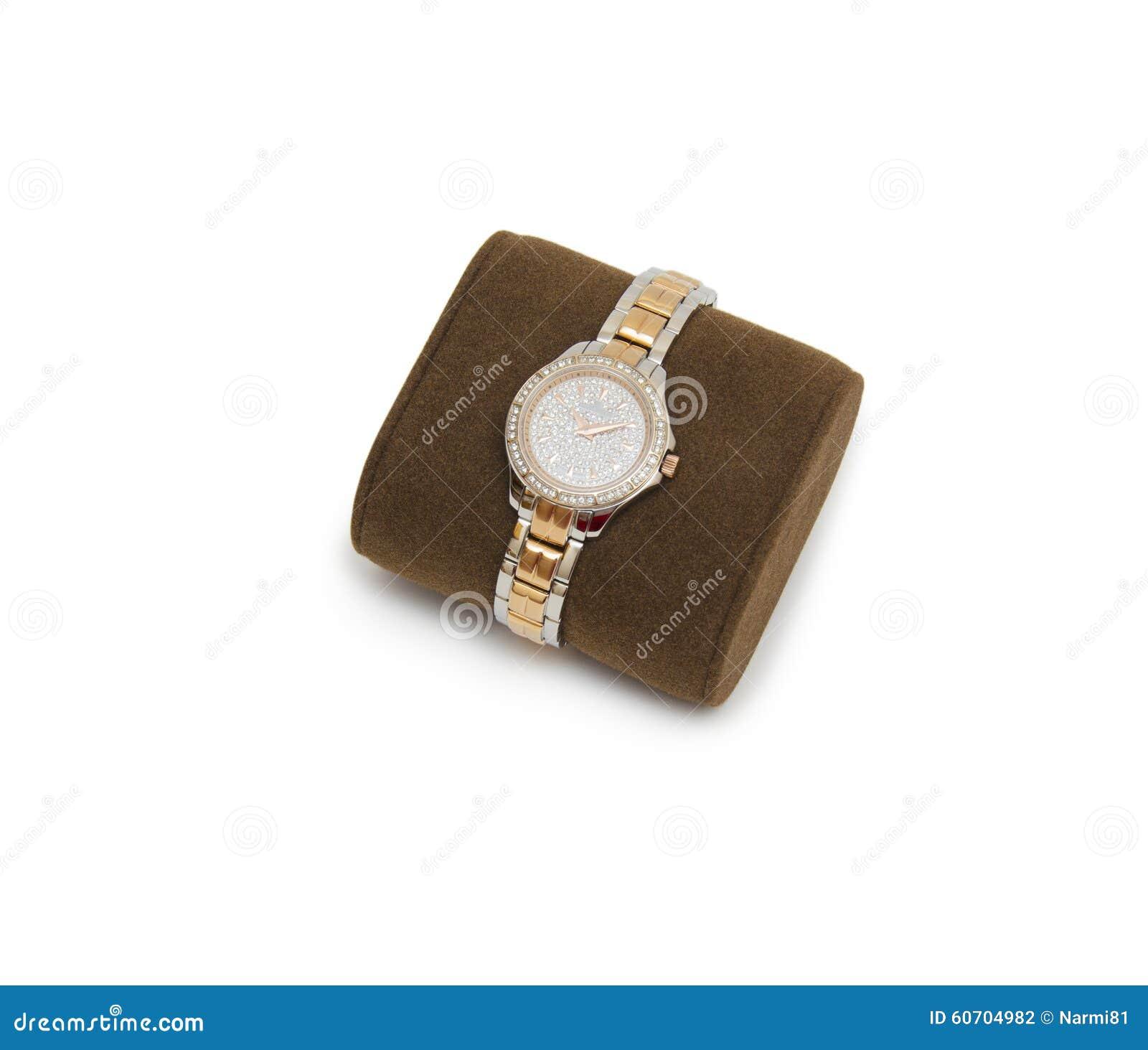 Moderne armbanduhr  Goldene Moderne Armbanduhr Lokalisiert Stockfoto - Bild: 60704982