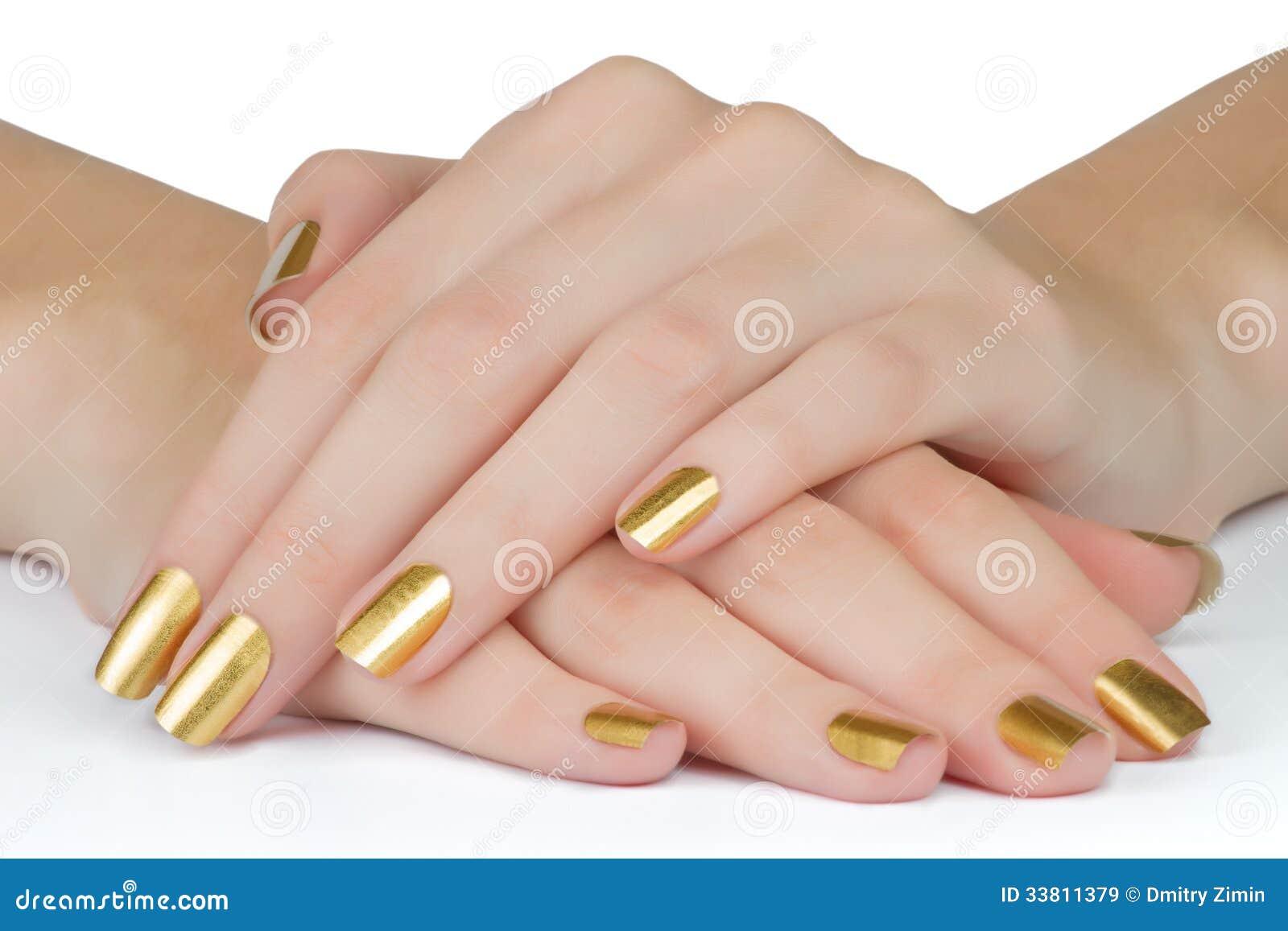 Goldene Nägel stockbild. Bild von zauber, weiblichkeit - 33811379