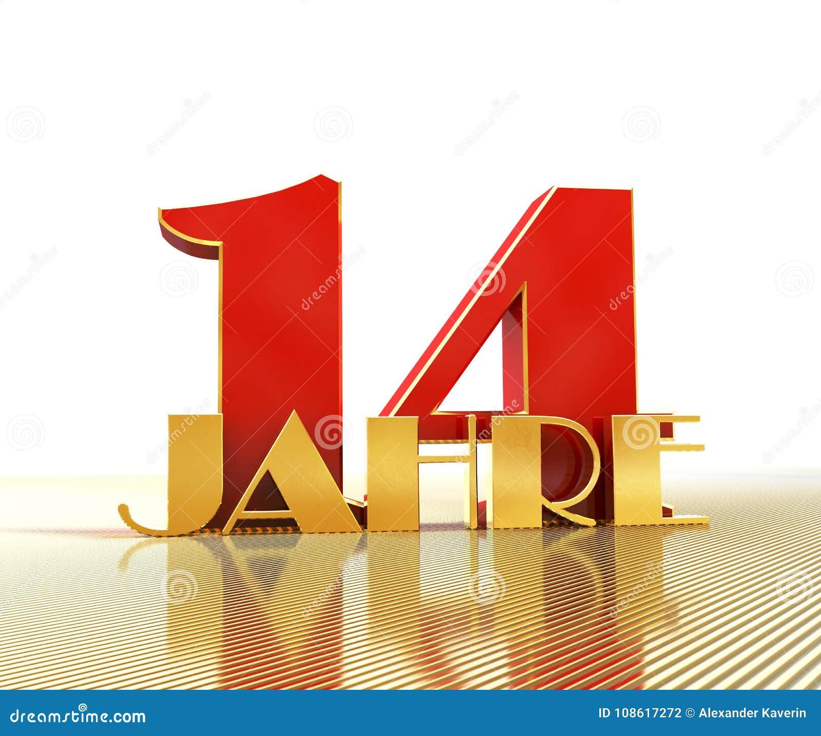 Goldene Nr. vierzehn nummerieren 14 und das Wort