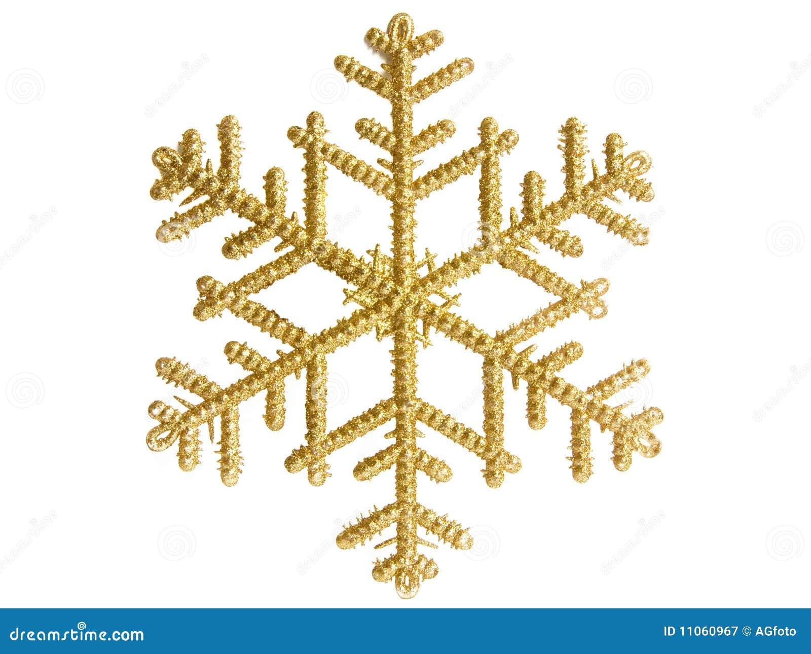 Goldene Schneeflocke Stockbild. Bild Von Verzierung, Tanne