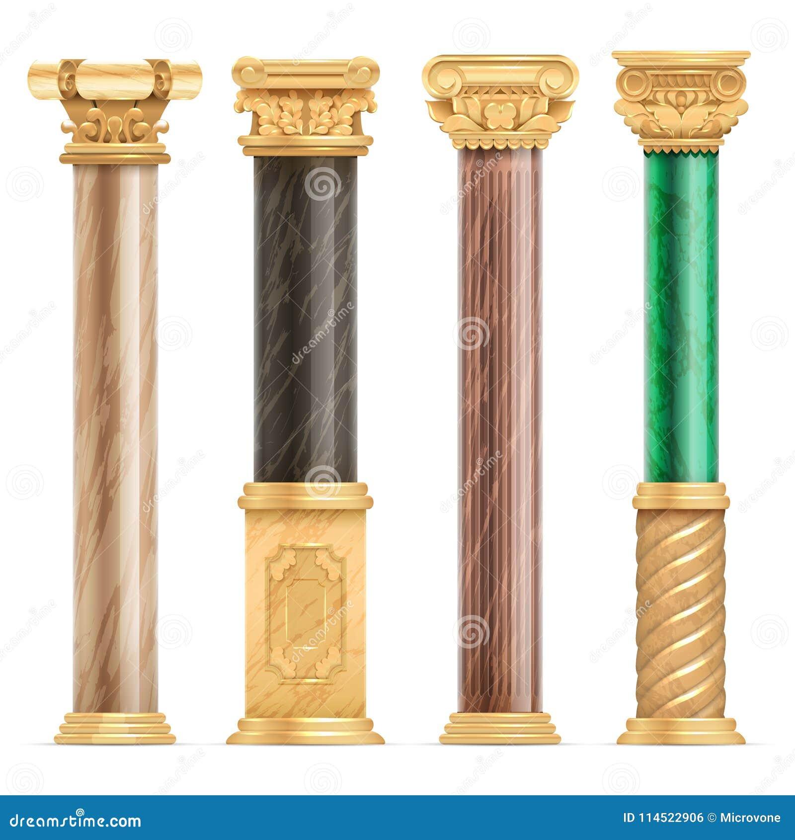 Goldene Spalten der klassischen arabischen Architektur mit dem Steinmarmorsäulenvektorsatz lokalisiert