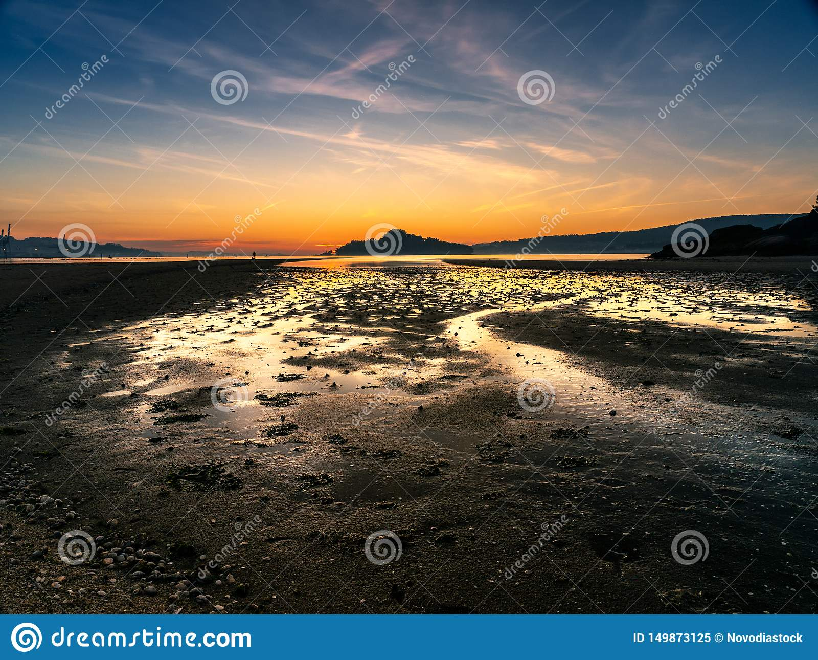 Goldene Stunde bei Ria de Pontevedra, Spanien