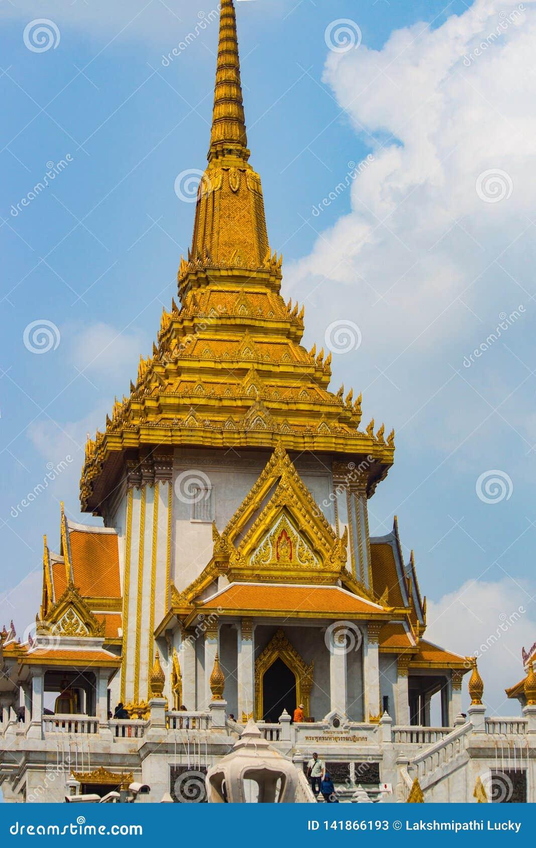Goldene Tempelnahaufnahme Bangkok Buddha