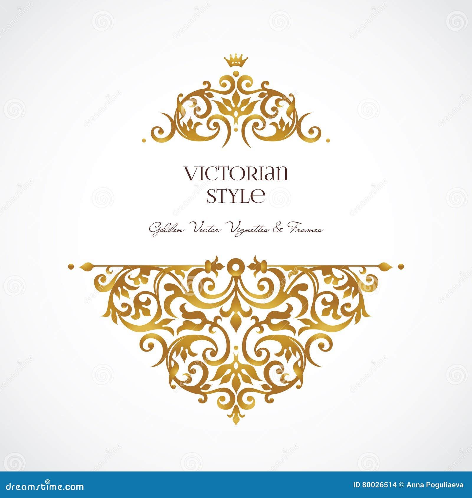 Goldene Vignetten Der Weinlese Im Viktorianischen Stil Vektor ...