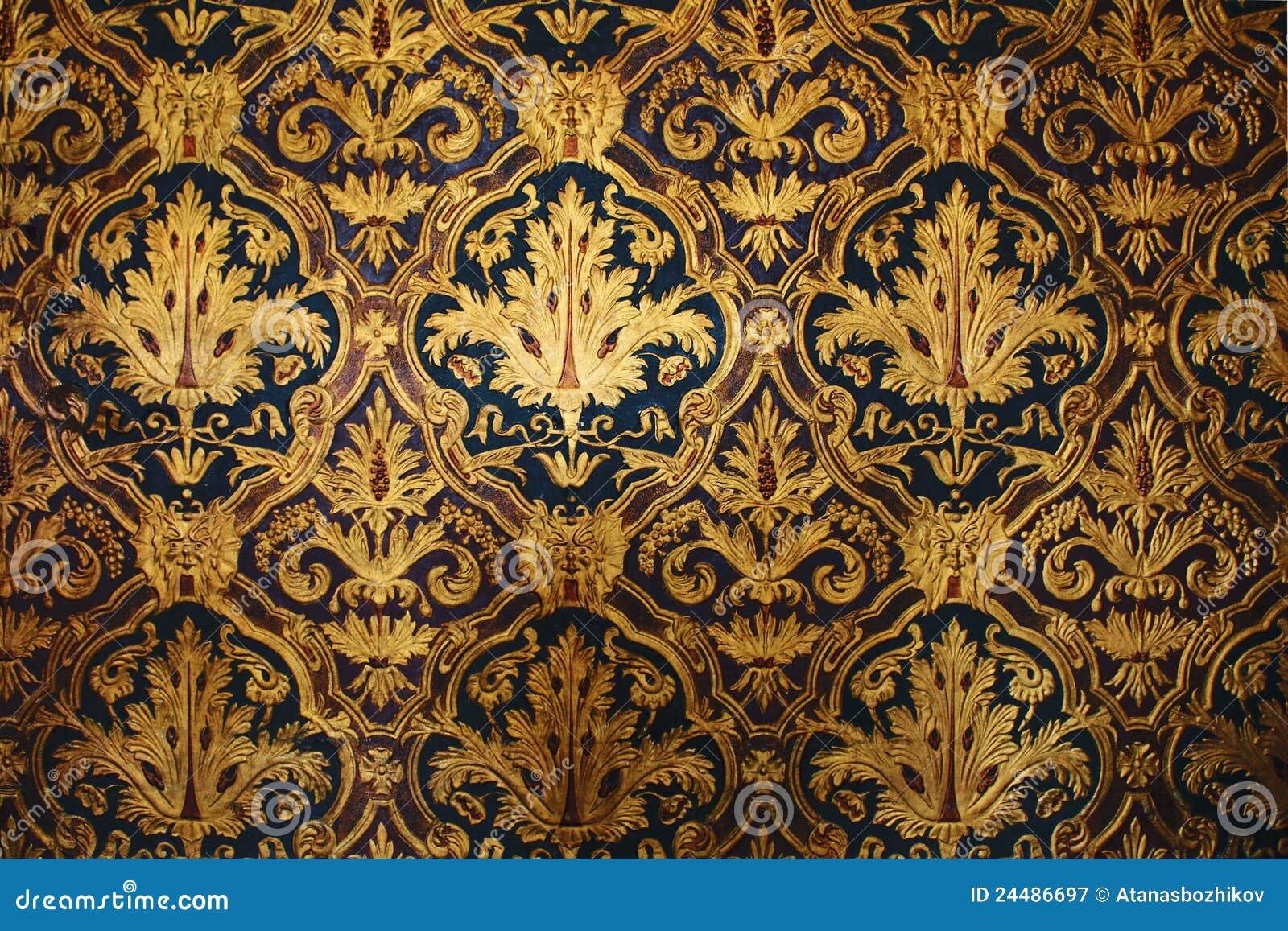 Goldene viktorianische tapete lizenzfreie stockfotografie for Goldene tapete