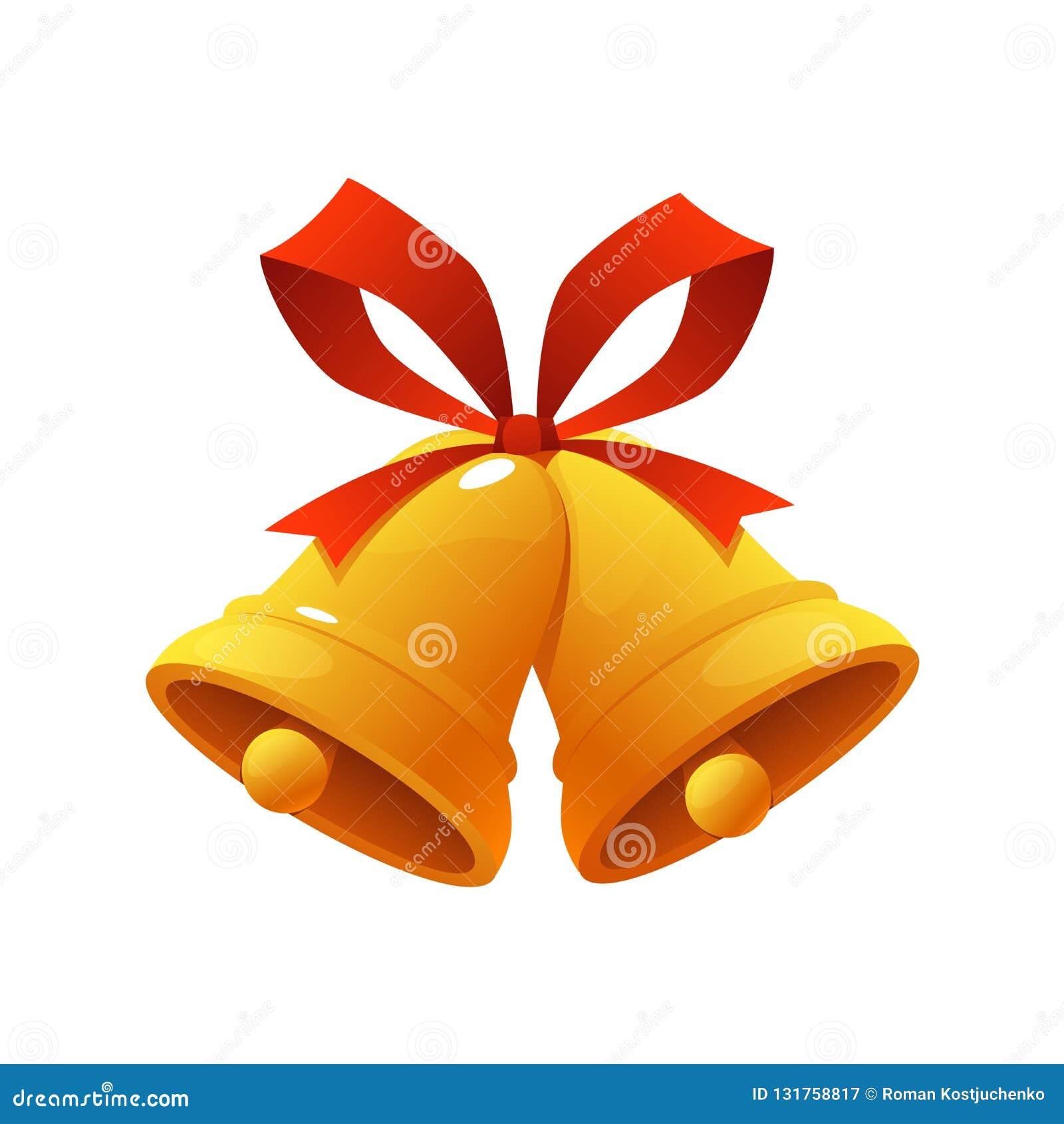 Goldene Weihnachtsglocke mit roter Bandklingelglocken-Ikonenvektorillustration auf weißem Hintergrund