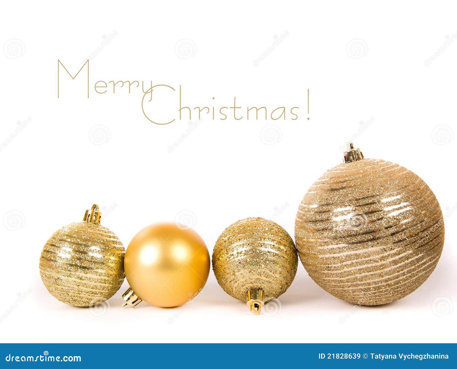 goldene weihnachtskugeln stockbild bild von platz marry 21828639. Black Bedroom Furniture Sets. Home Design Ideas