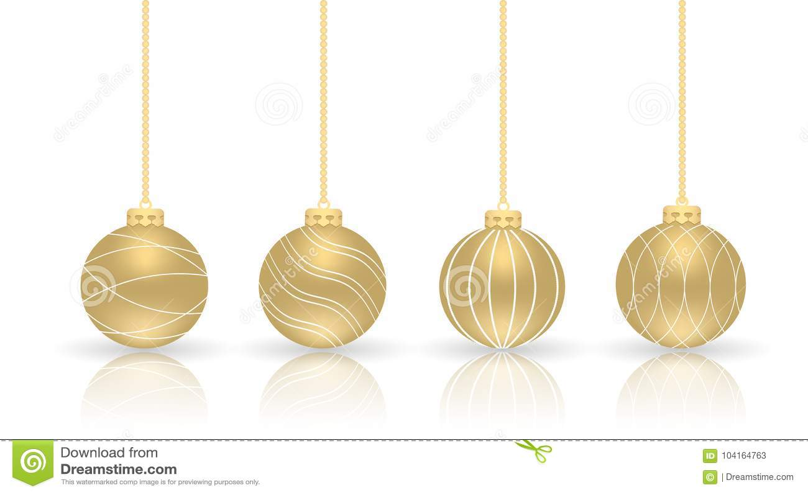 Goldene Weihnachtskugeln.Goldene Weihnachtskugeln Satz Lokalisierte Realistische Dekorationen