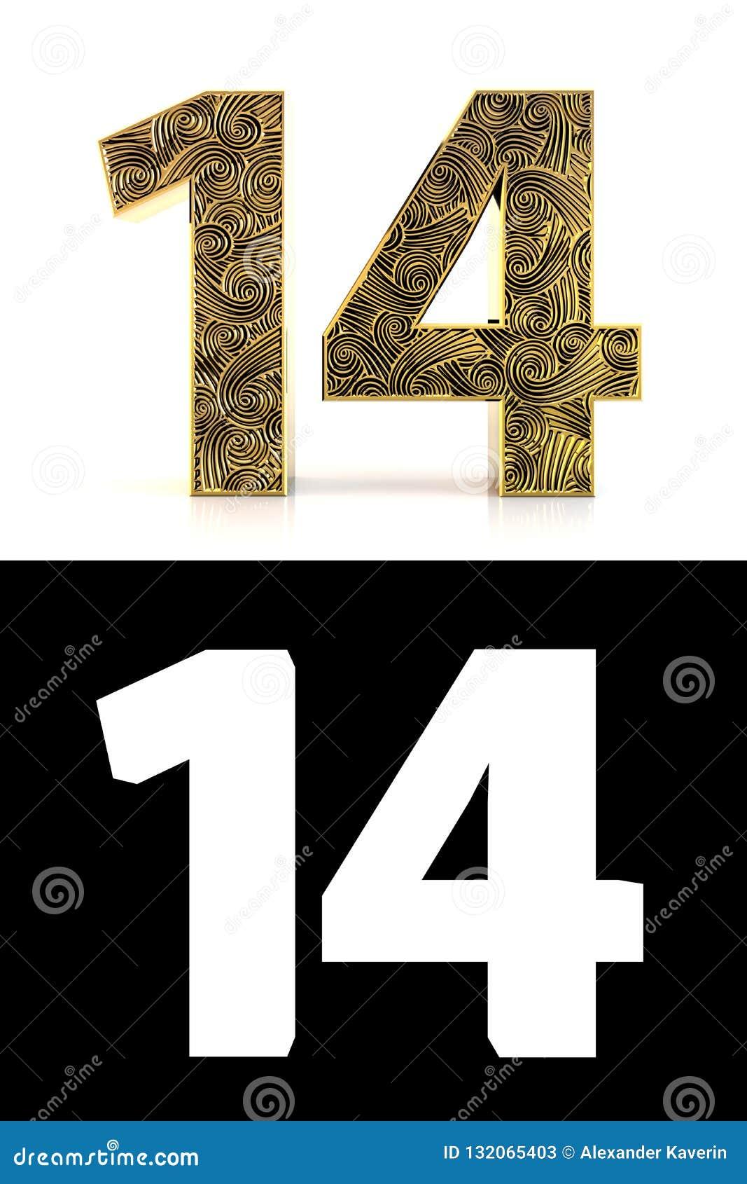 Goldene Zahl vierzehn Jahre der Art Zentangle