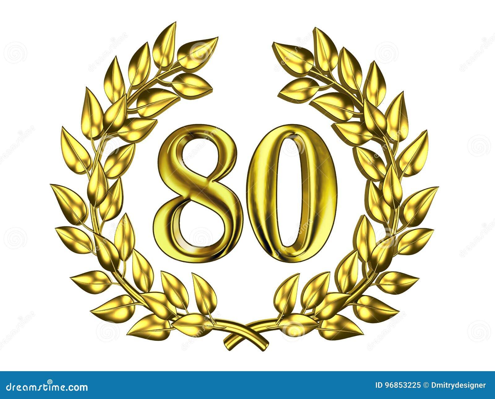 Goldene Zahl Von 80 In Einem Goldkranz Stock Abbildung