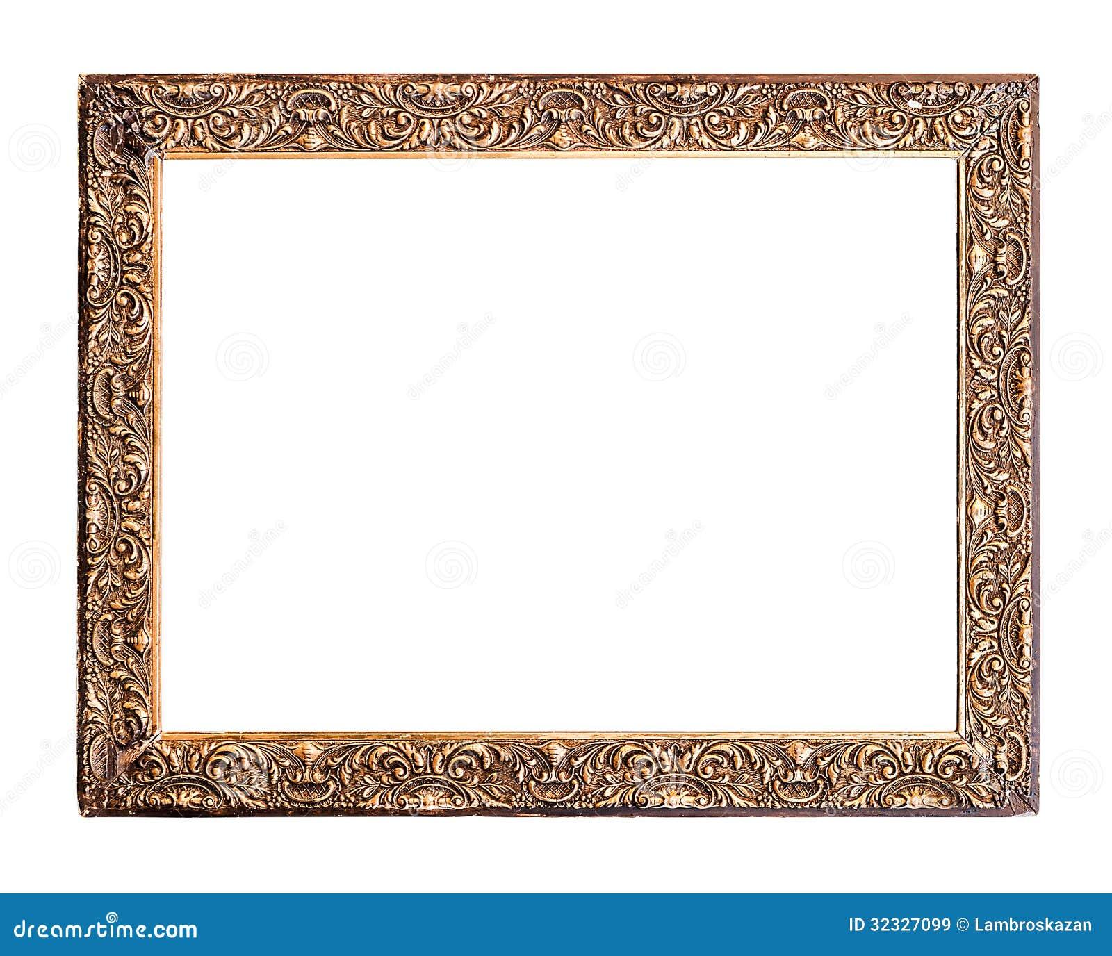 Goldener Alter Rahmen, Lokalisiert Auf Weiß Stockbild - Bild von ...
