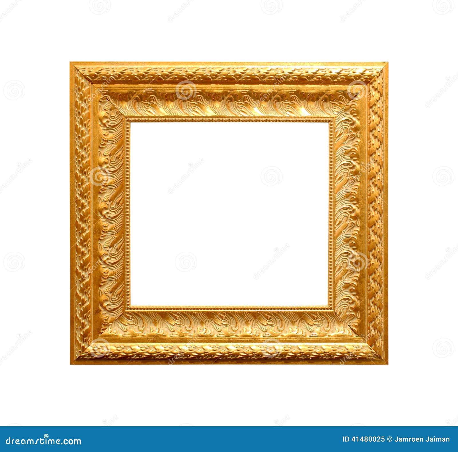Goldener Antiker Rahmen Lokalisiert Auf Weiß Stockbild - Bild von ...