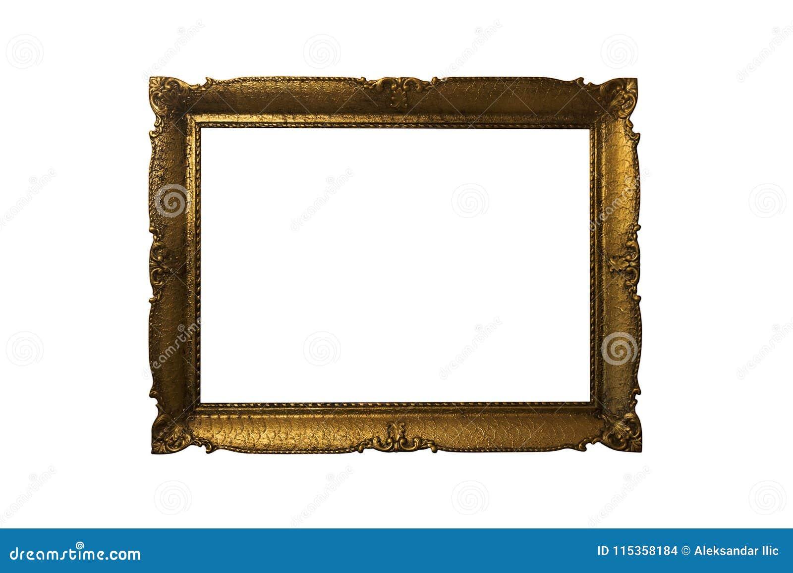 Goldener aufwändiger Bilderrahmen getrennt auf weißem Hintergrund Antiqu