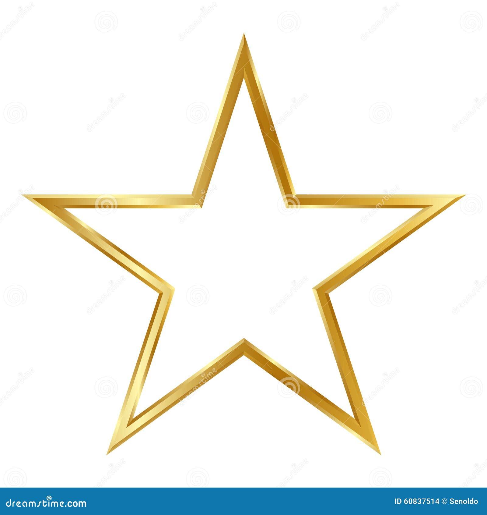Goldener Einfacher Rahmen Des Stern-3D Lokalisiert Auf Weißem ...