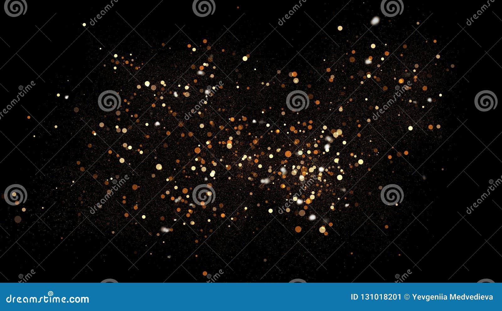 Goldener Funkelnstaub auf schwarzem Hintergrund Funkelnde Spritzenillustration mit Goldpulver Glühender magischer Nebeleffekt Bok