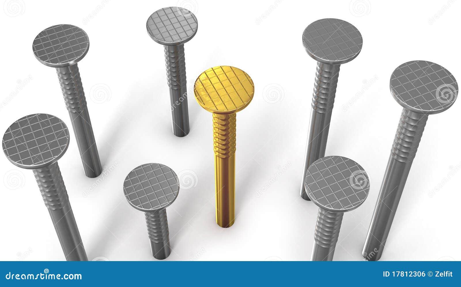 goldener nagel zwischen stahl eine getrennt auf wei lizenzfreies stockbild bild 17812306. Black Bedroom Furniture Sets. Home Design Ideas