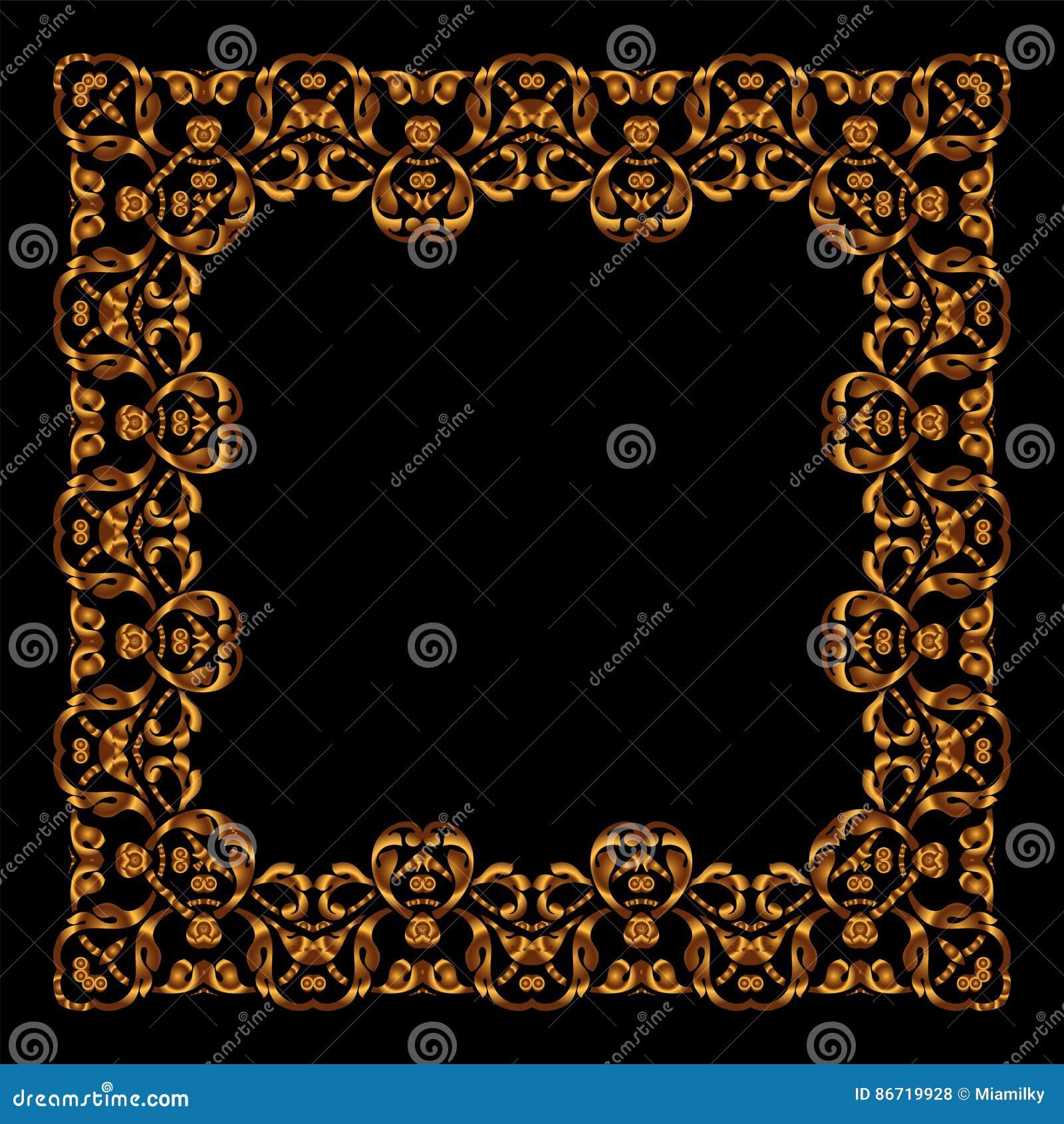 Goldener Rahmen Des Vektors Quadratische Weinlesekarte Für Design ...