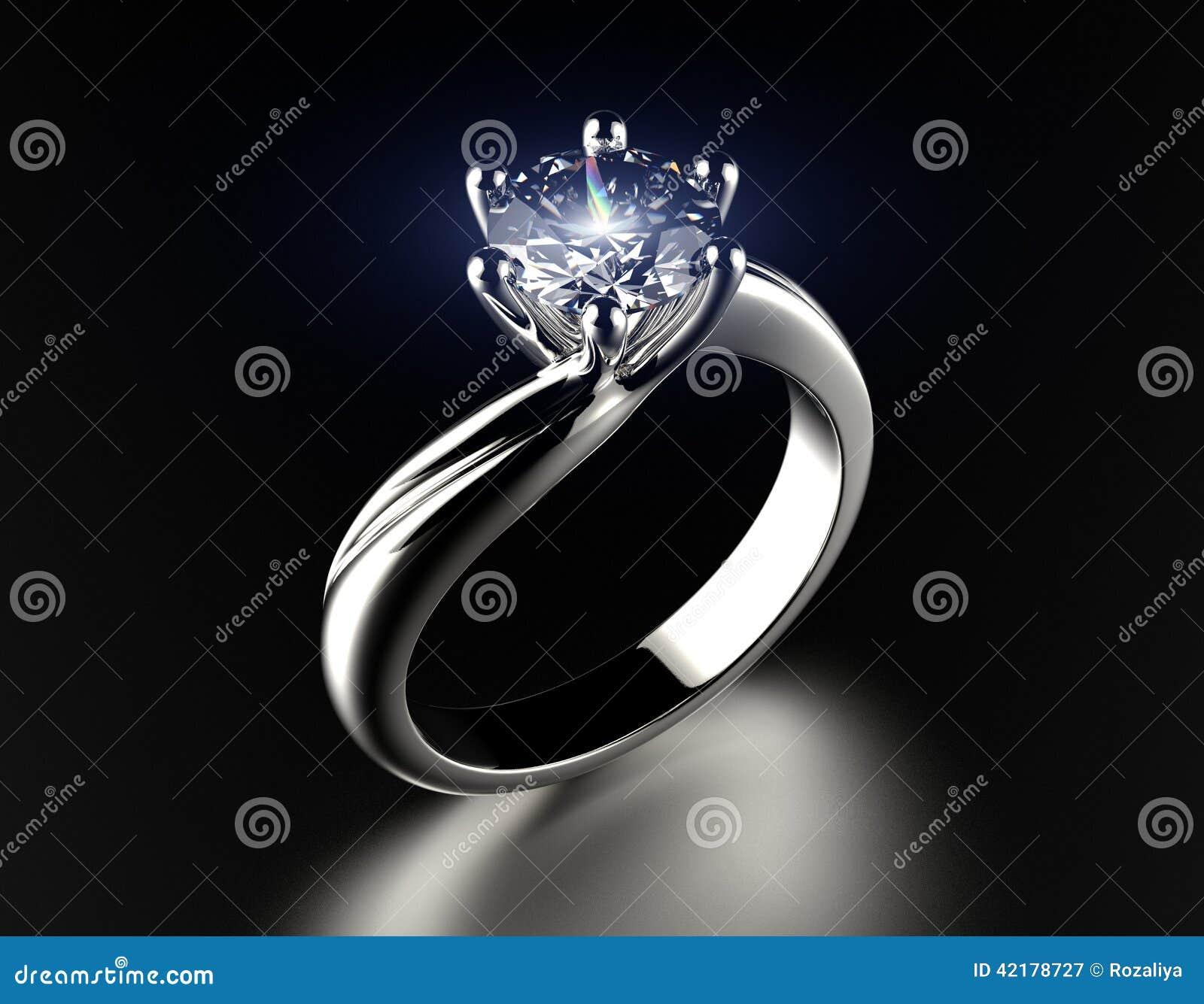 Goldener Verlobungsring Mit Diamanten Stockbild Bild Von Glitzern