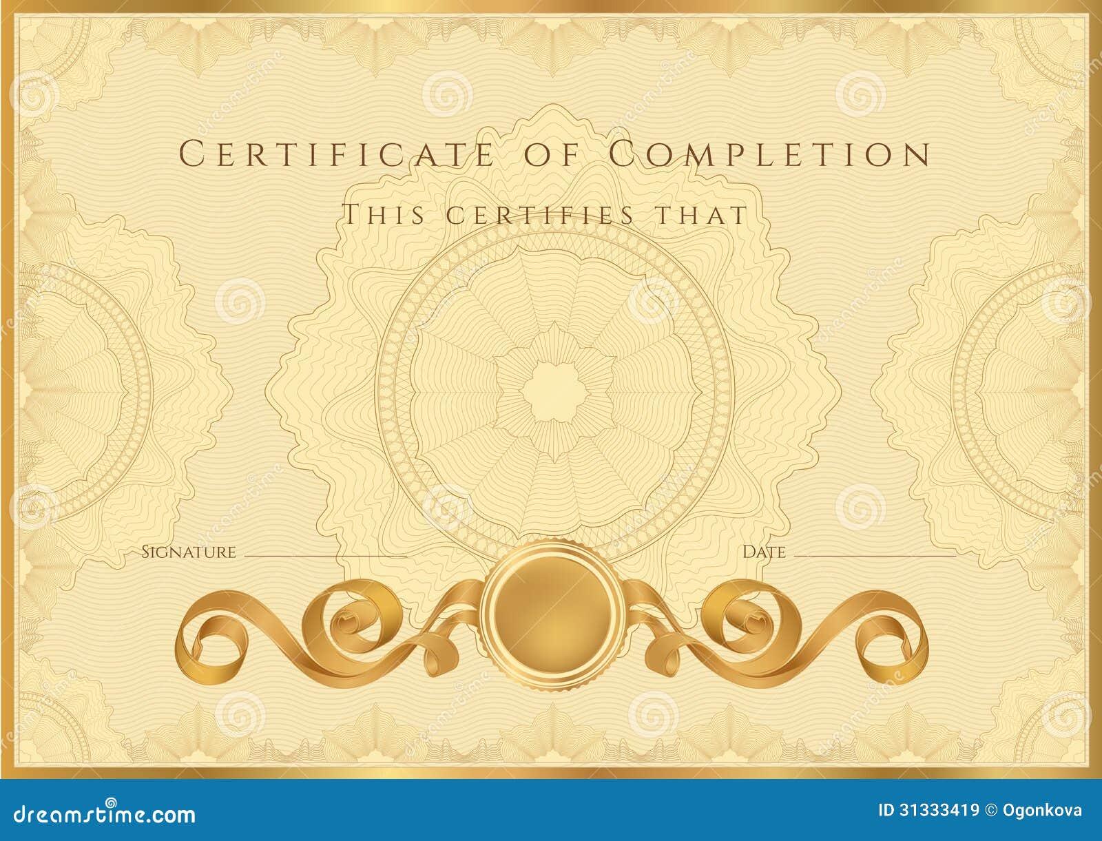Zertifikat-/Diplomhintergrundschablone. Muster Vektor Abbildung ...