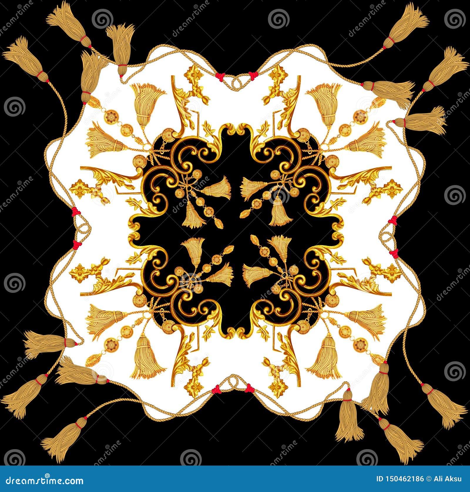 Goldenes Barock im Verzierungselementweinlesegoldseil-Schalentwurf