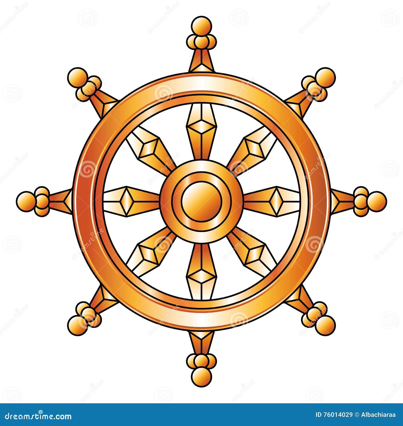 goldenes dharma rad buddhismus religions symbol vektor abbildung illustration 76014029. Black Bedroom Furniture Sets. Home Design Ideas