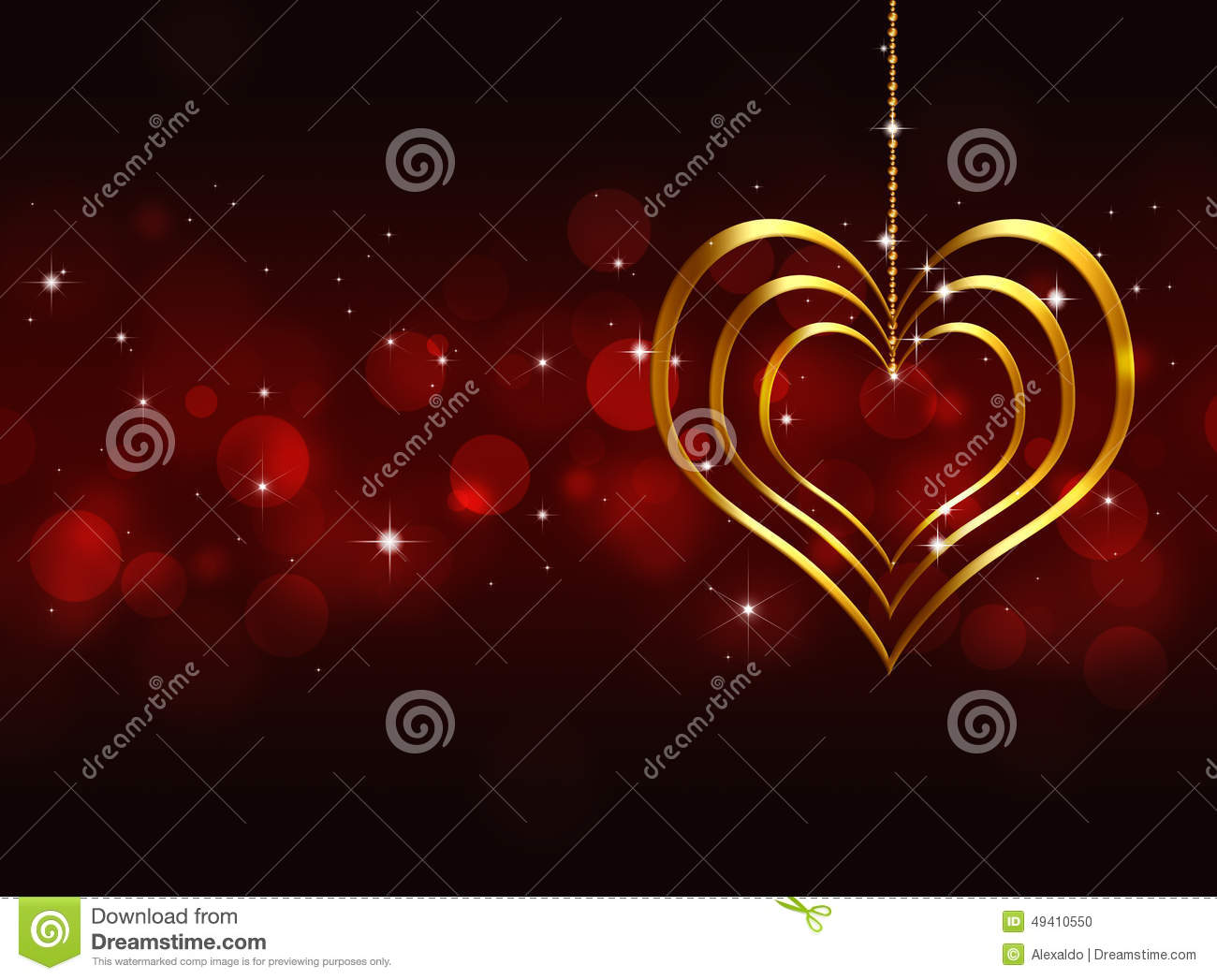 Download Goldenes Herz Valentine Red Background Stock Abbildung - Illustration von abbildung, februar: 49410550