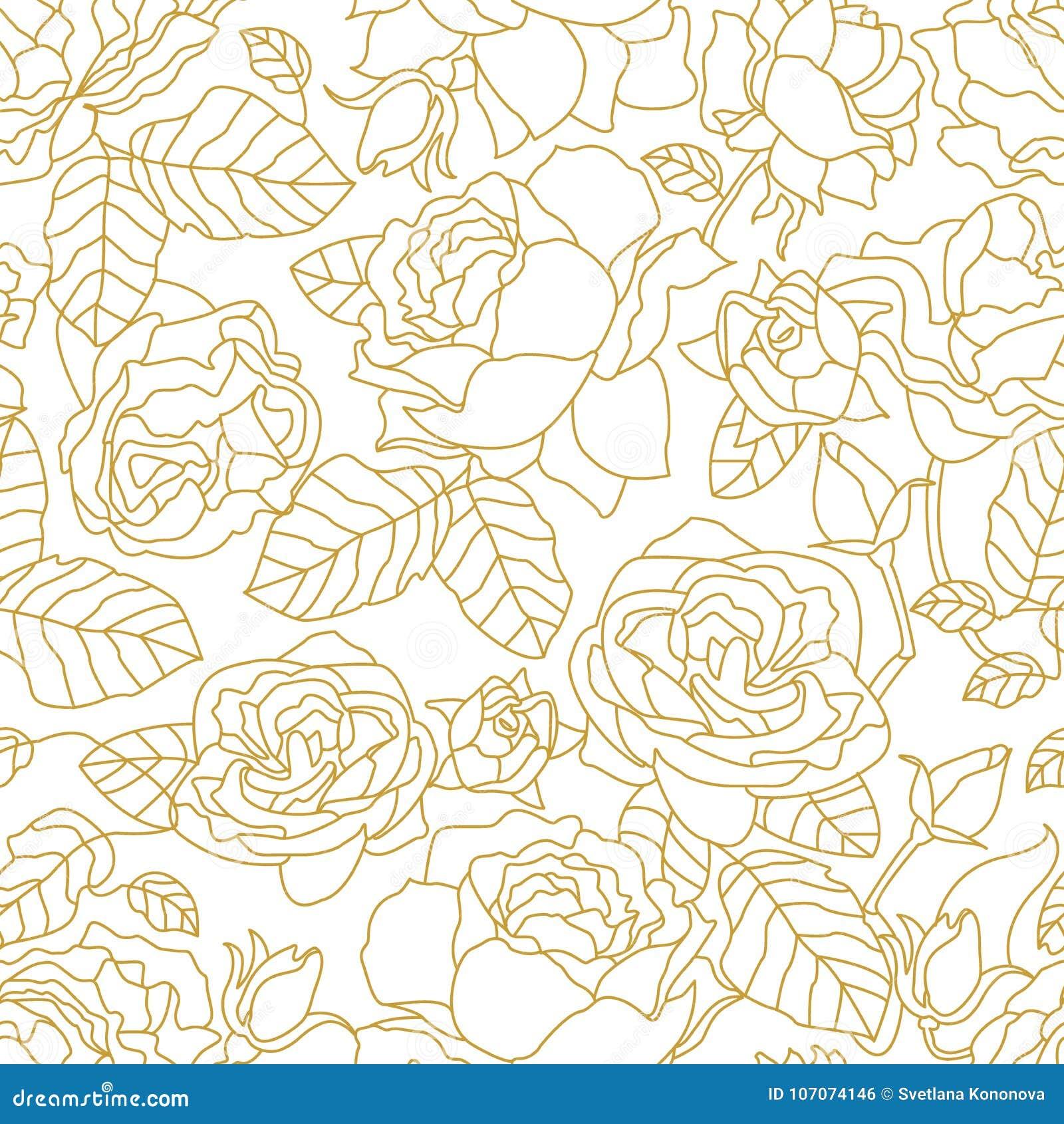 Goldenes lineares Muster mit blühenden Rosen und Blättern
