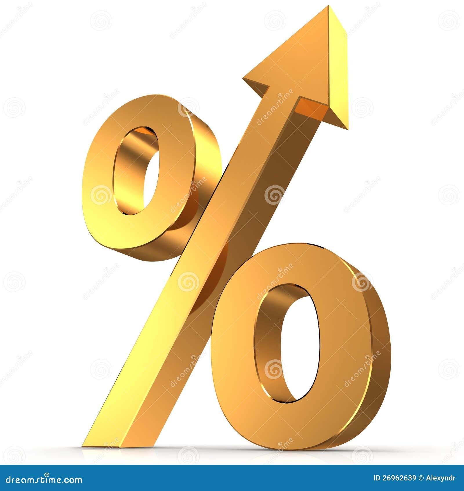 Goldenes Prozentsatzsymbol mit einem Pfeil oben