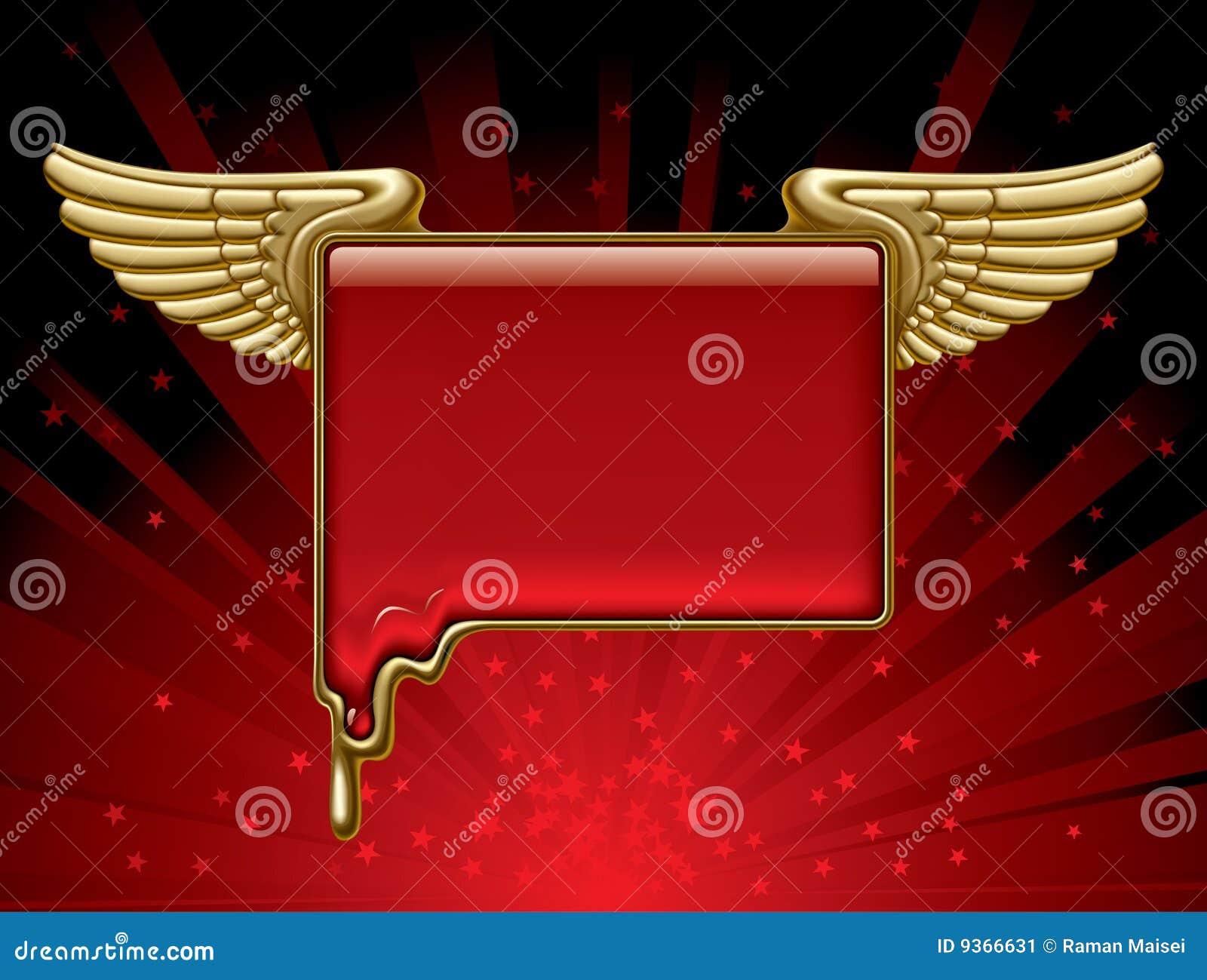 Goldfahne mit Flügeln