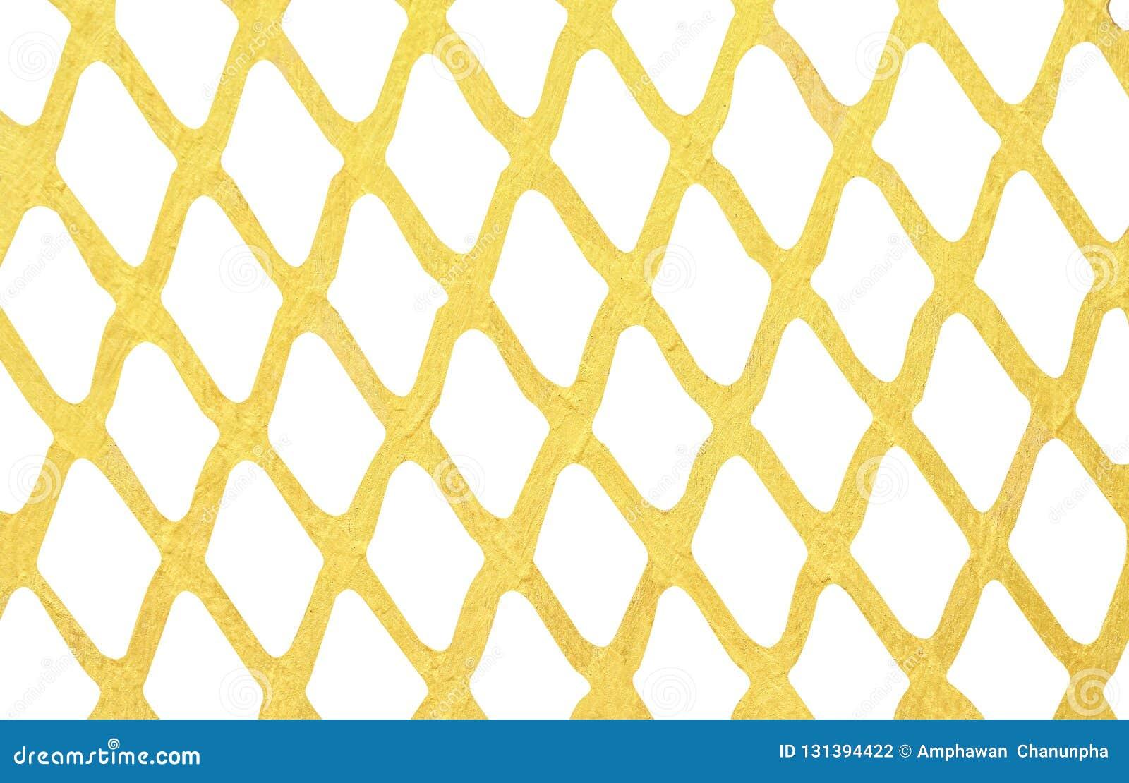 Goldfarbenwand-Maschenmuster lokalisiert auf weißem Hintergrund
