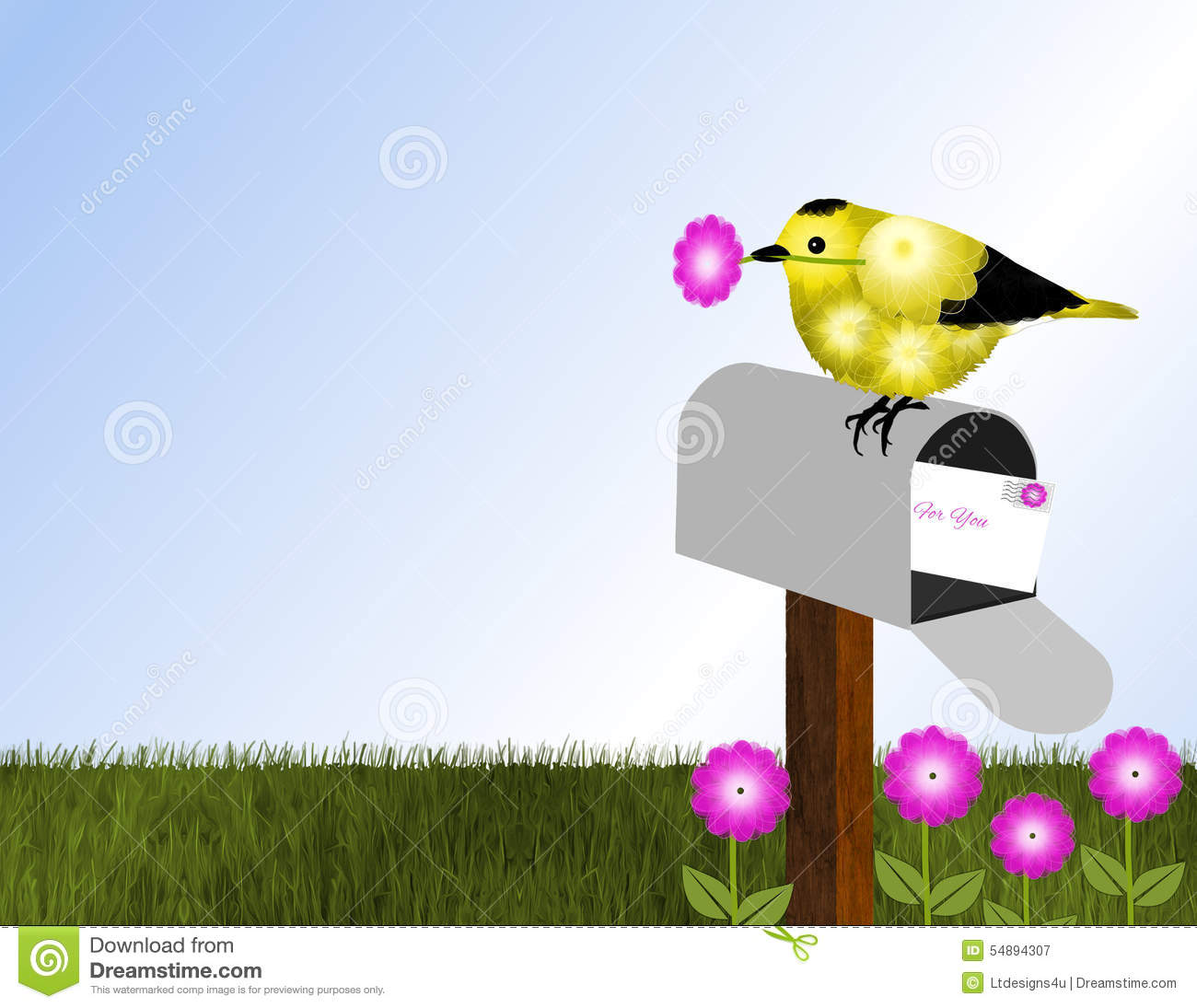 Goldfinch And Open Mailbox Stock Illustration - Image ...