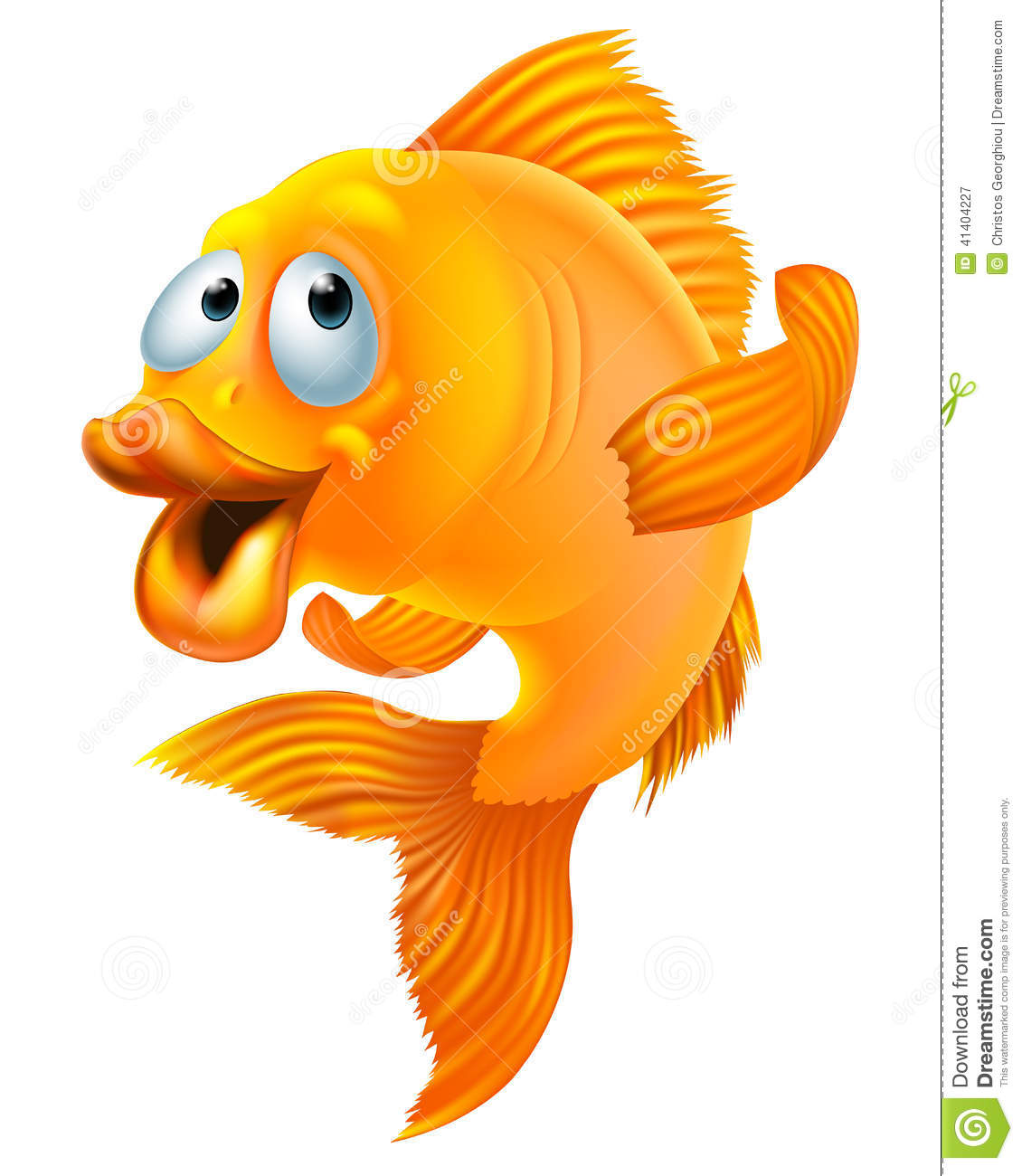 An illustration of a happy goldfish cartoon character waving.