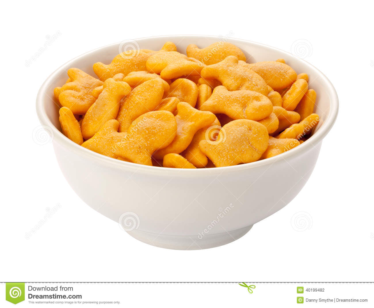 Goldfish crackers in a white dish stock photo image for Gold fish snacks