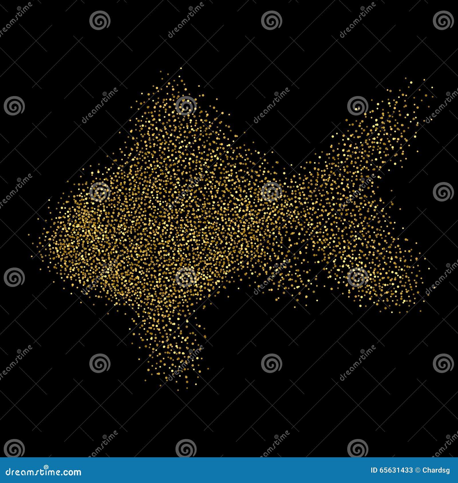 Goldfish d isolement Poisson rouge de scintillement d or Fond de la poussière d or