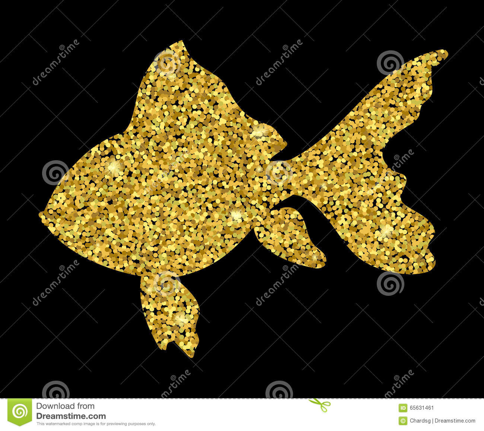 Goldfish d isolement Poisson rouge de scintillement d or Fond de la poussière d or sur le noir Poisson rouge avec des étincelles