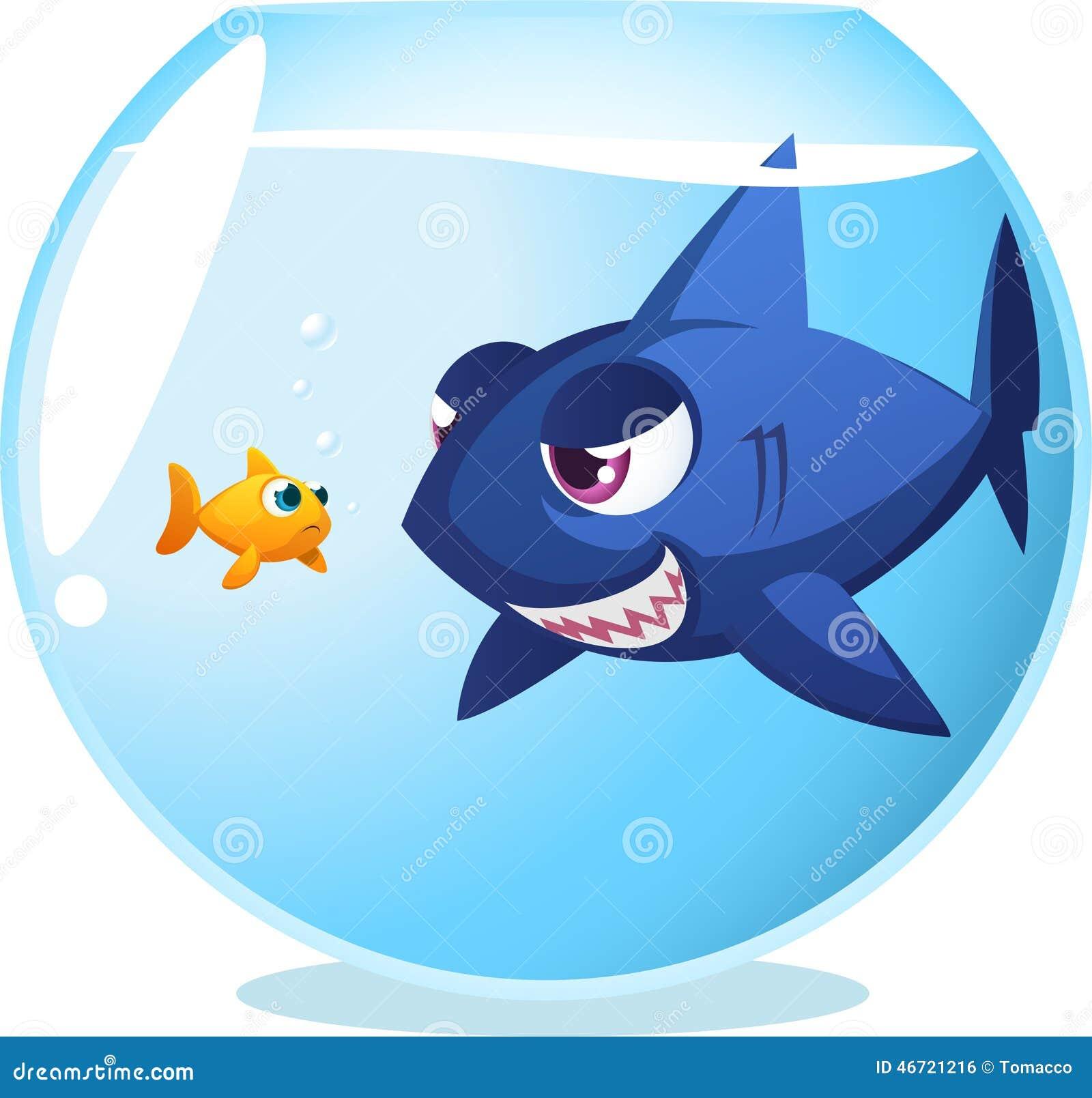 Goldfish With Dangerous Shark Stock Illustration - Image ...