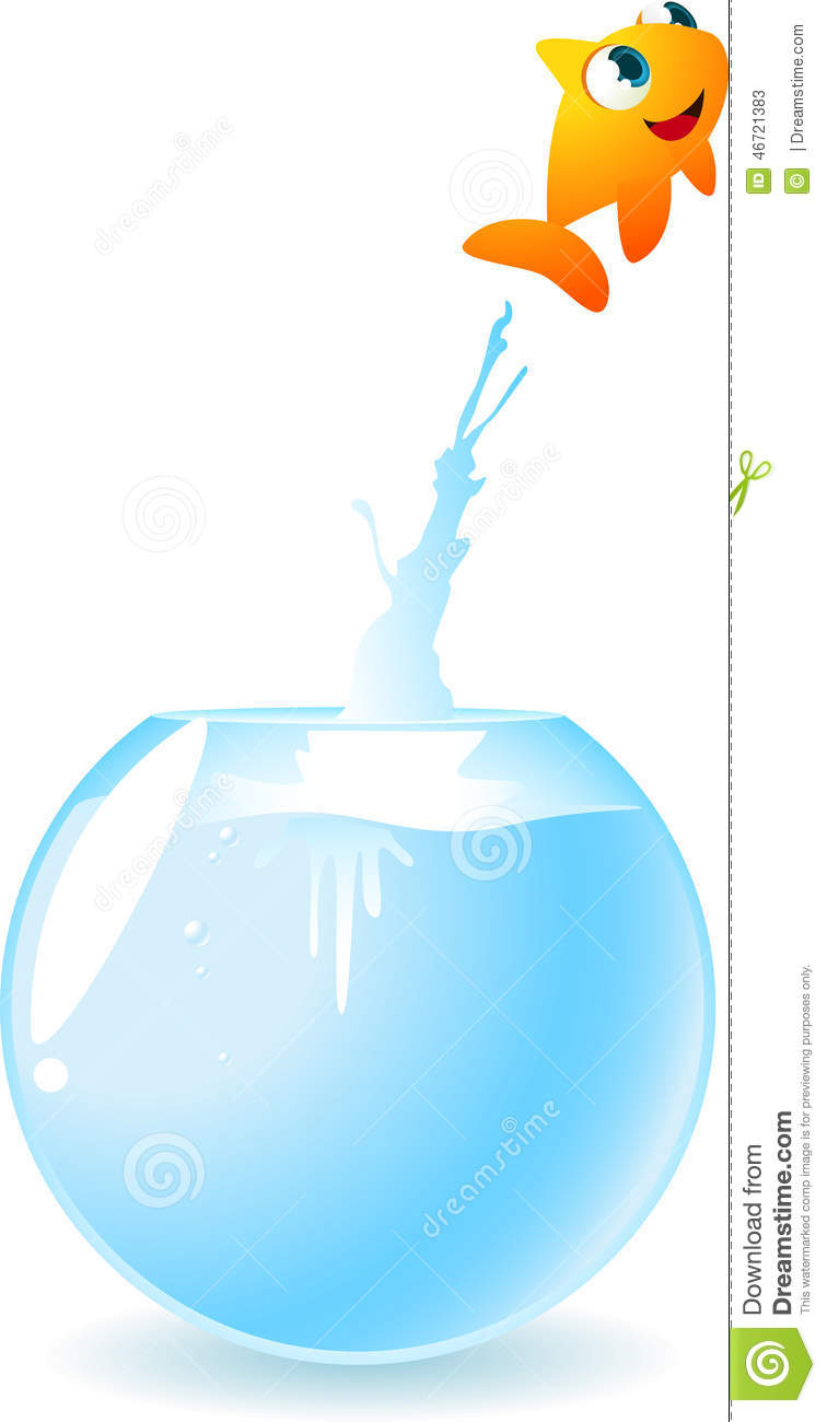 Goldfish Escaping Jumping Out Of The Fish Tank Stock Illustration
