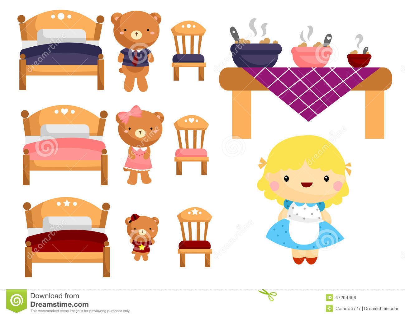 Uncategorized And The Three Bears goldilocks and the three bears stock vector image 47204406 bears