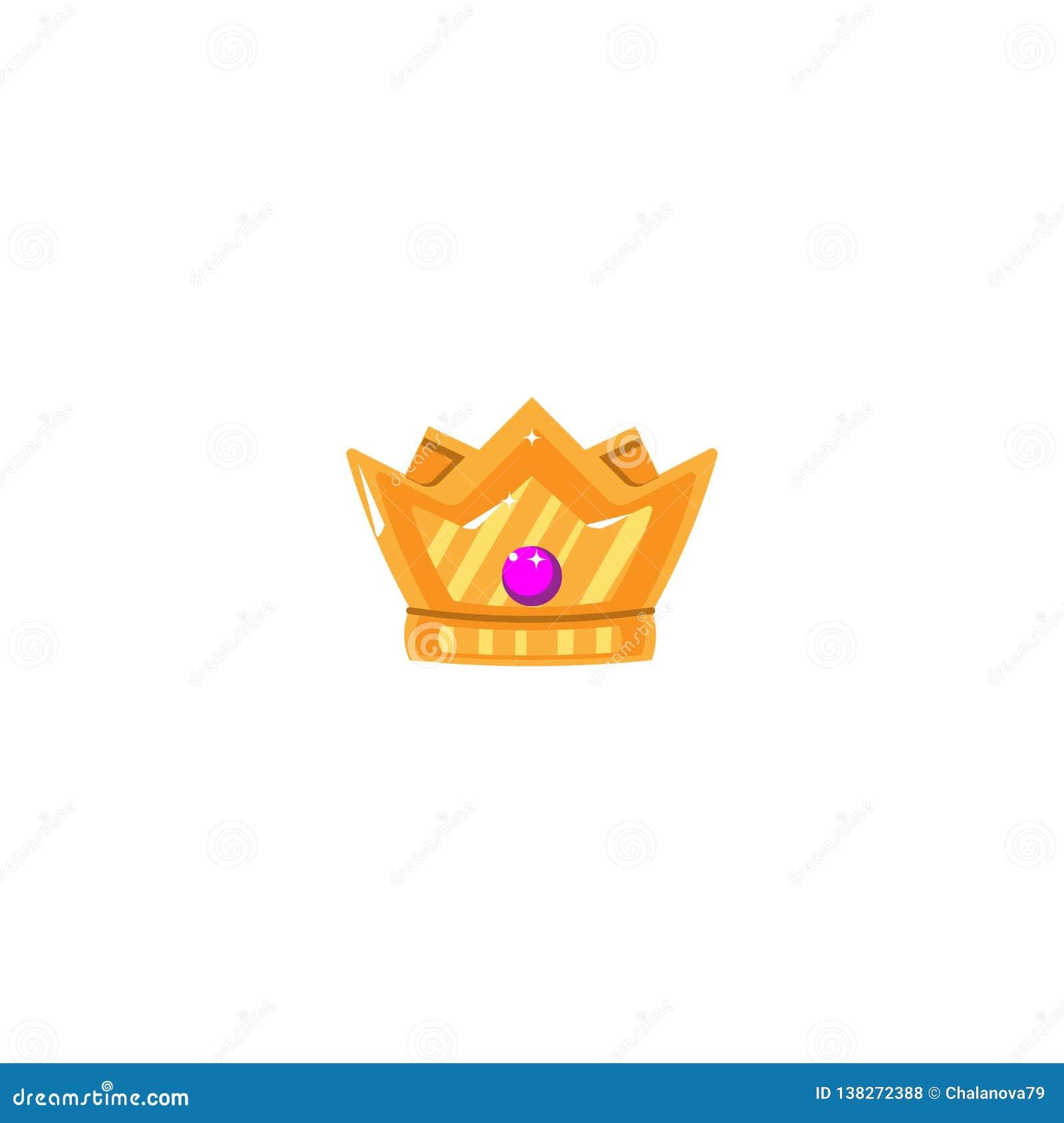 Goldkrone mit Edelsteinen Ikonen-Gegenstand-Symbol Auch im corel abgehobenen Betrag Art Design Cartoon Isolated